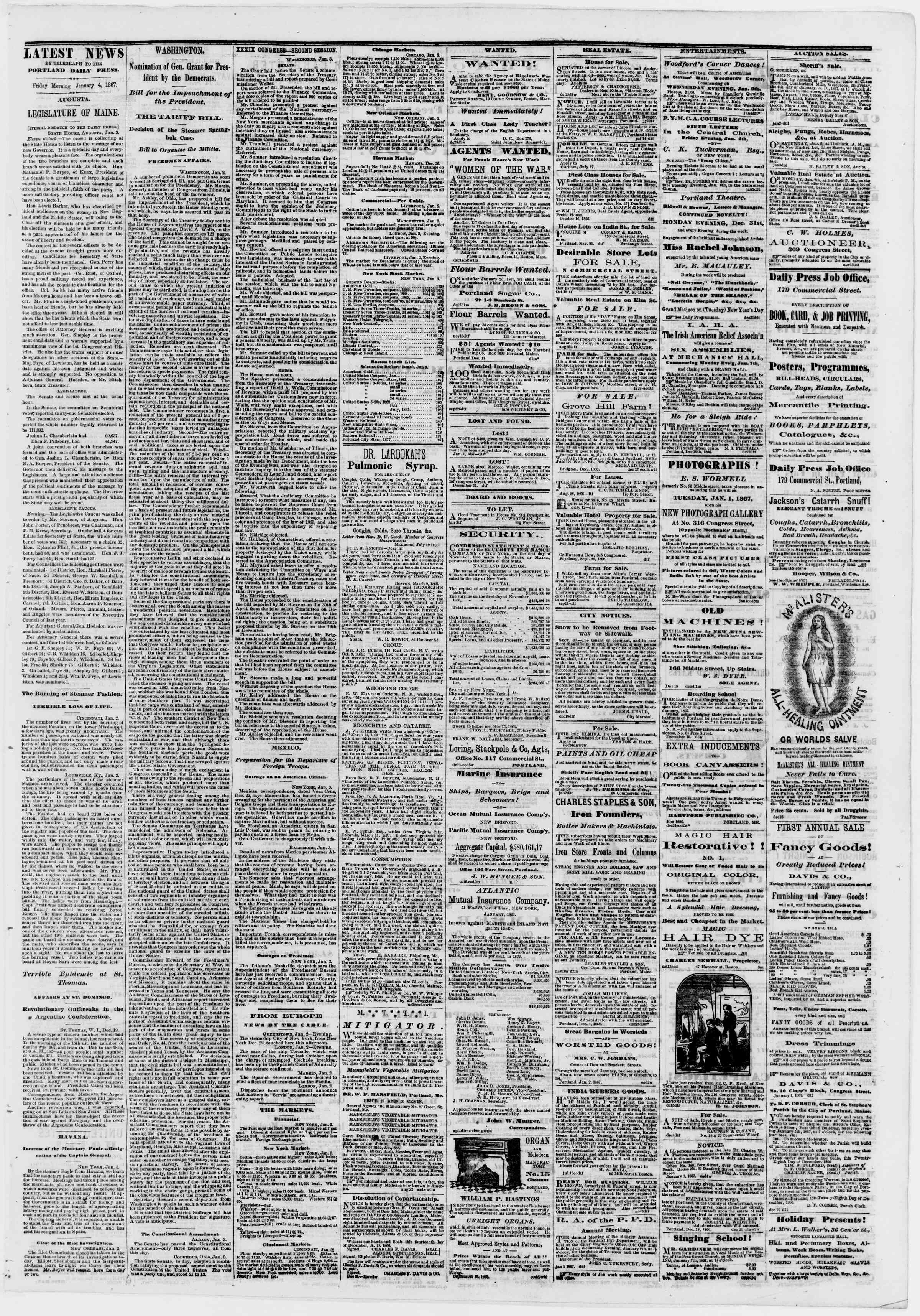 Newspaper of Portland Daily Press dated January 4, 1867 Page 3
