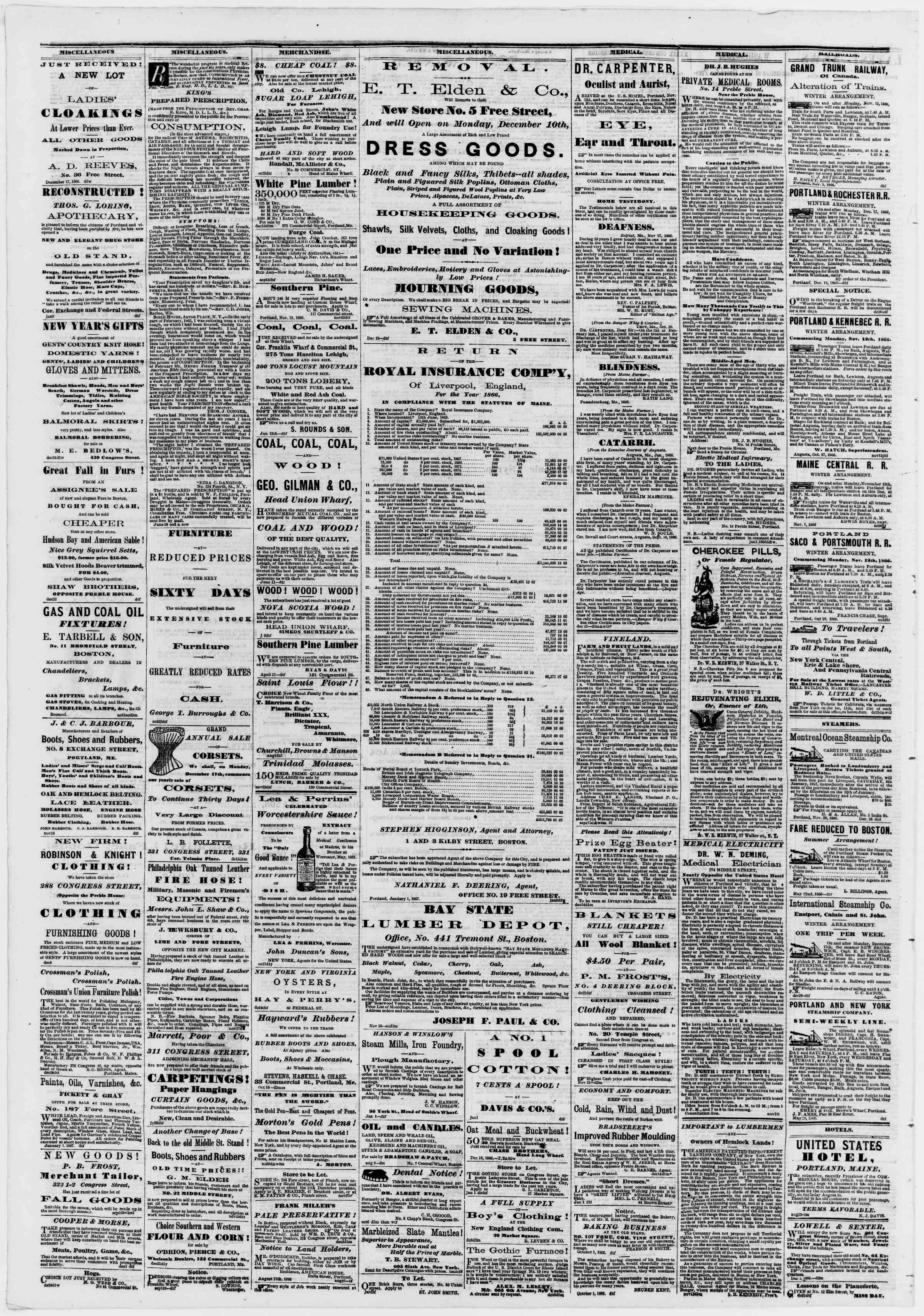 Newspaper of Portland Daily Press dated January 4, 1867 Page 4