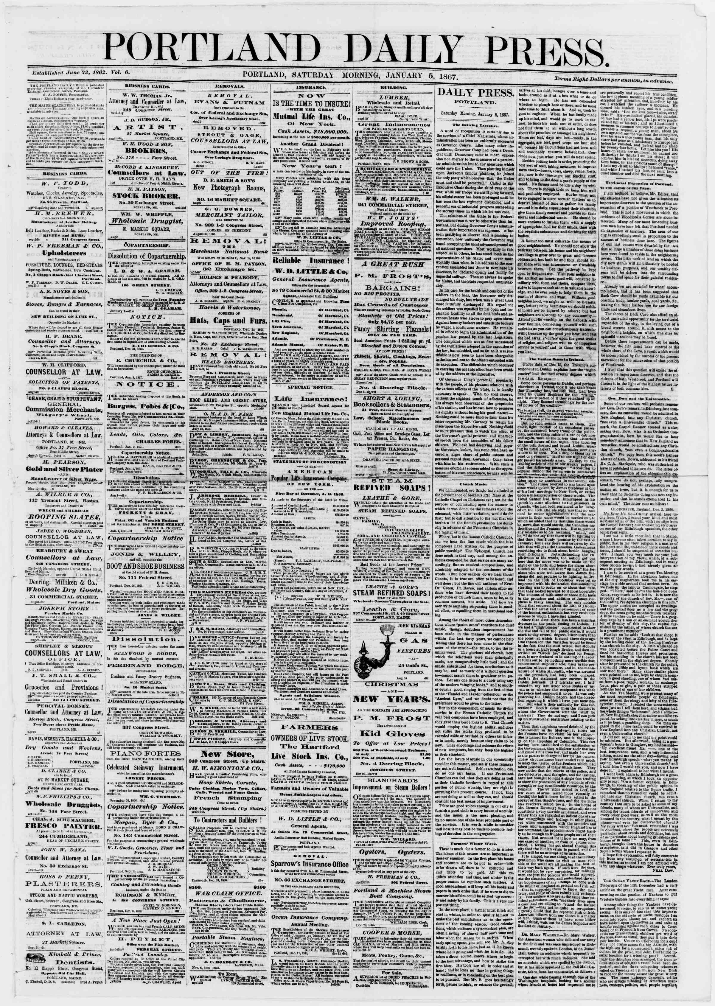 Newspaper of Portland Daily Press dated January 5, 1867 Page 1