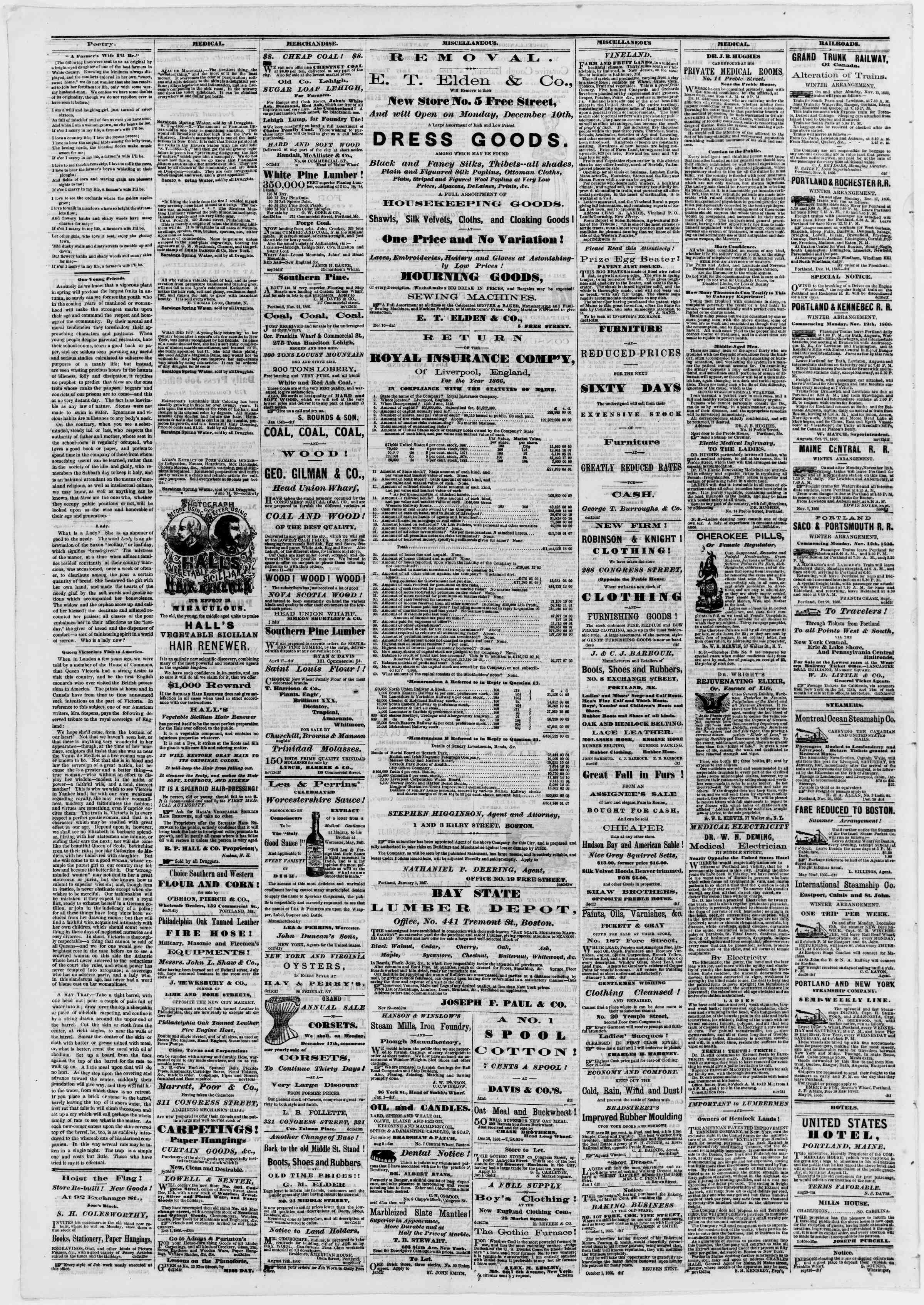 Newspaper of Portland Daily Press dated January 5, 1867 Page 4
