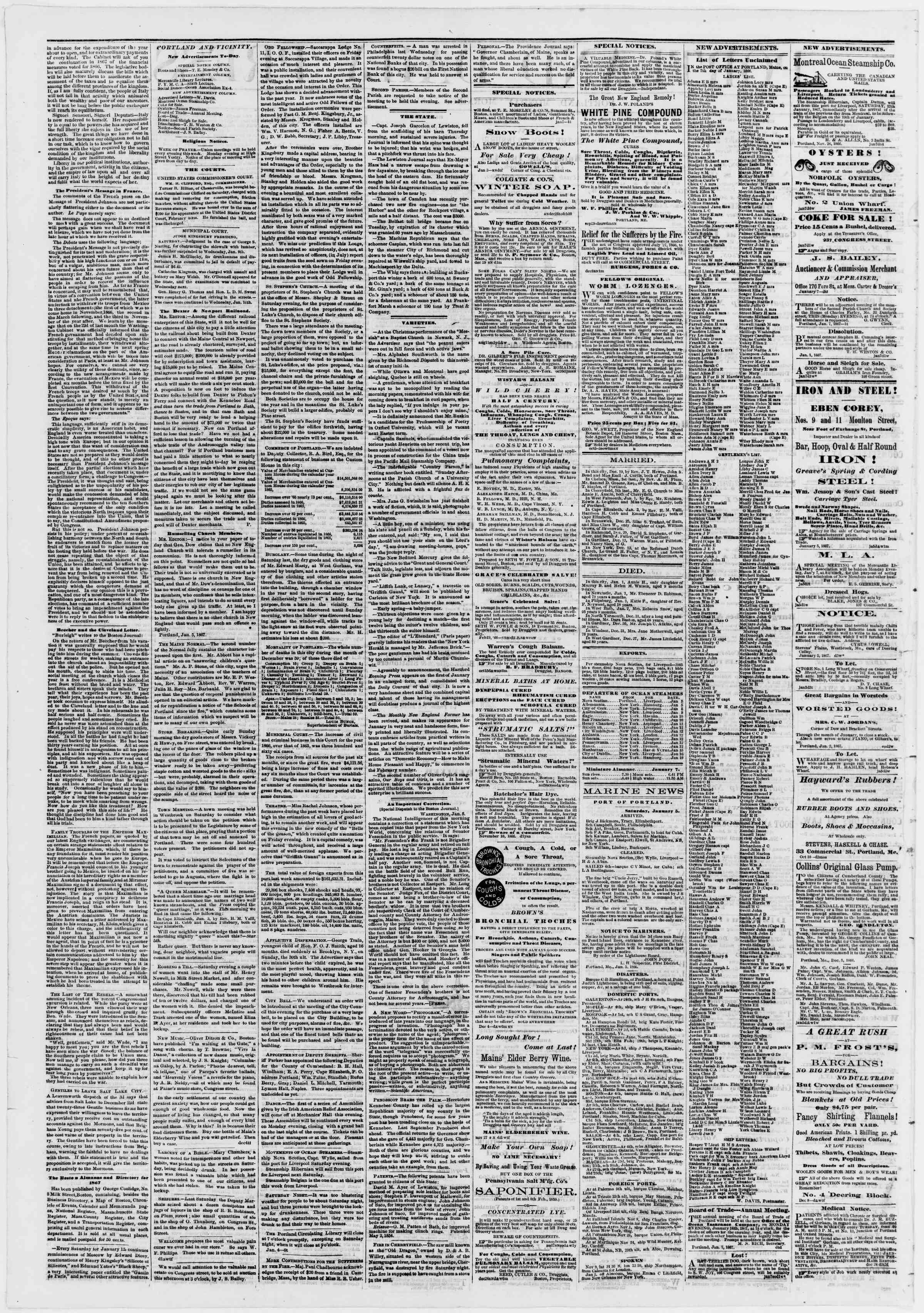 Newspaper of Portland Daily Press dated January 7, 1867 Page 2