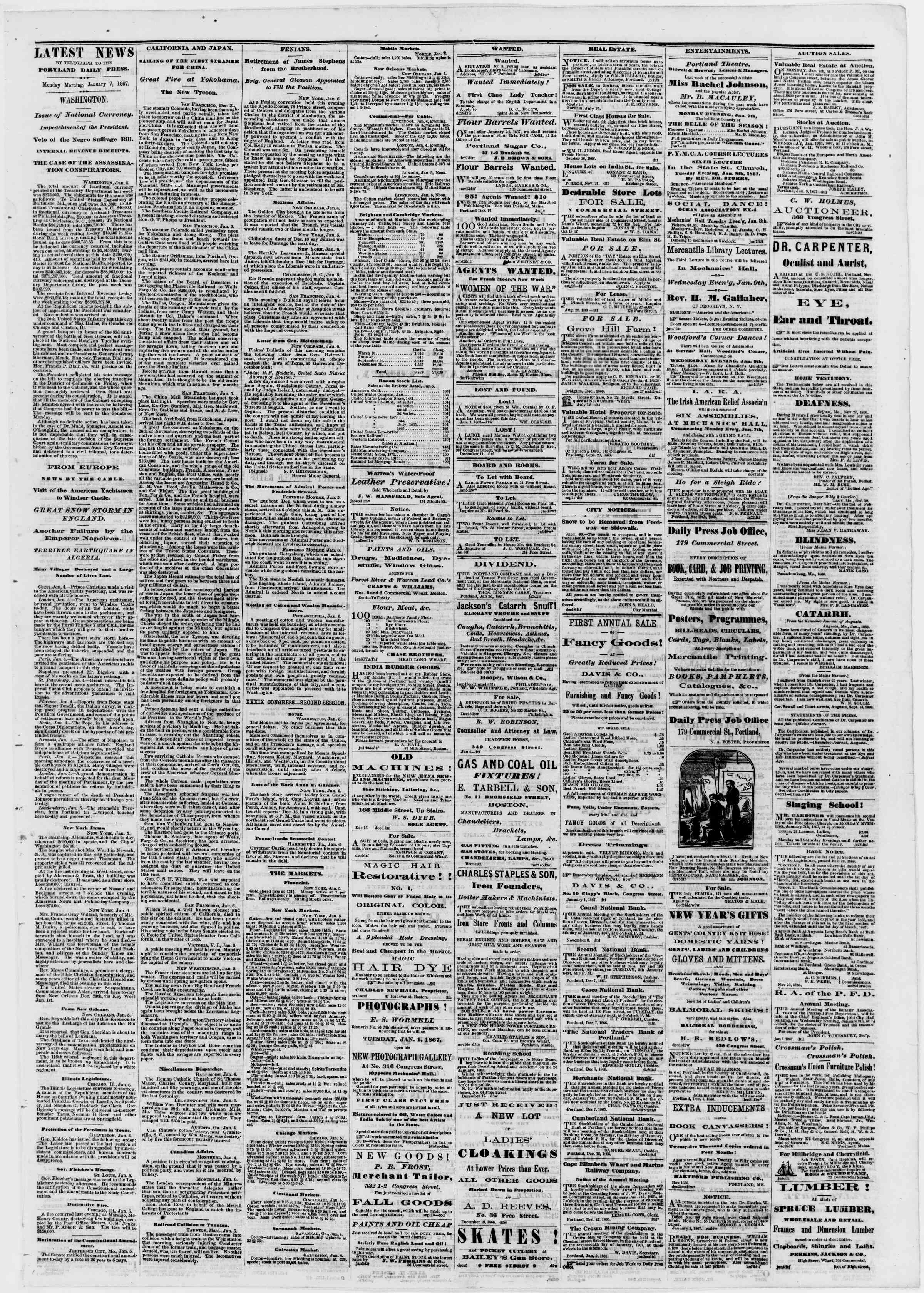 Newspaper of Portland Daily Press dated January 7, 1867 Page 3