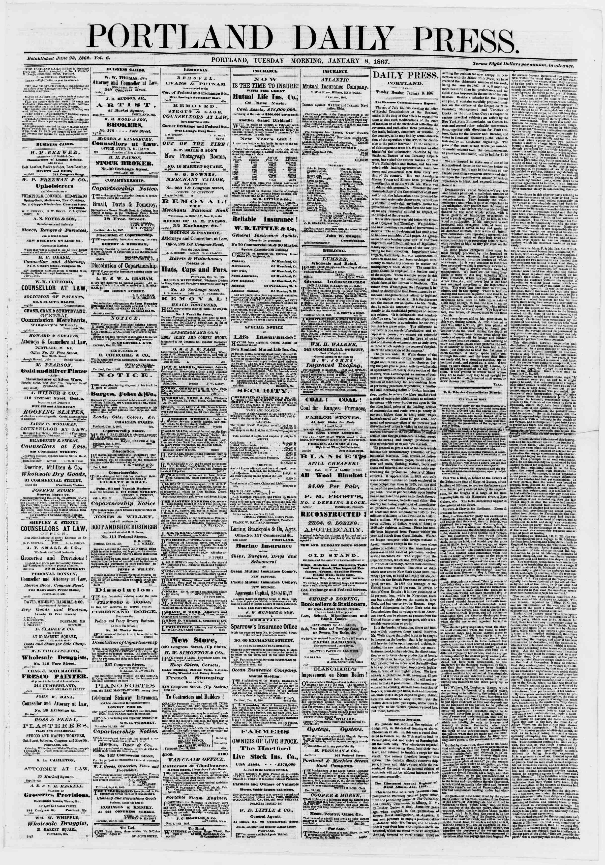 Newspaper of Portland Daily Press dated January 8, 1867 Page 1