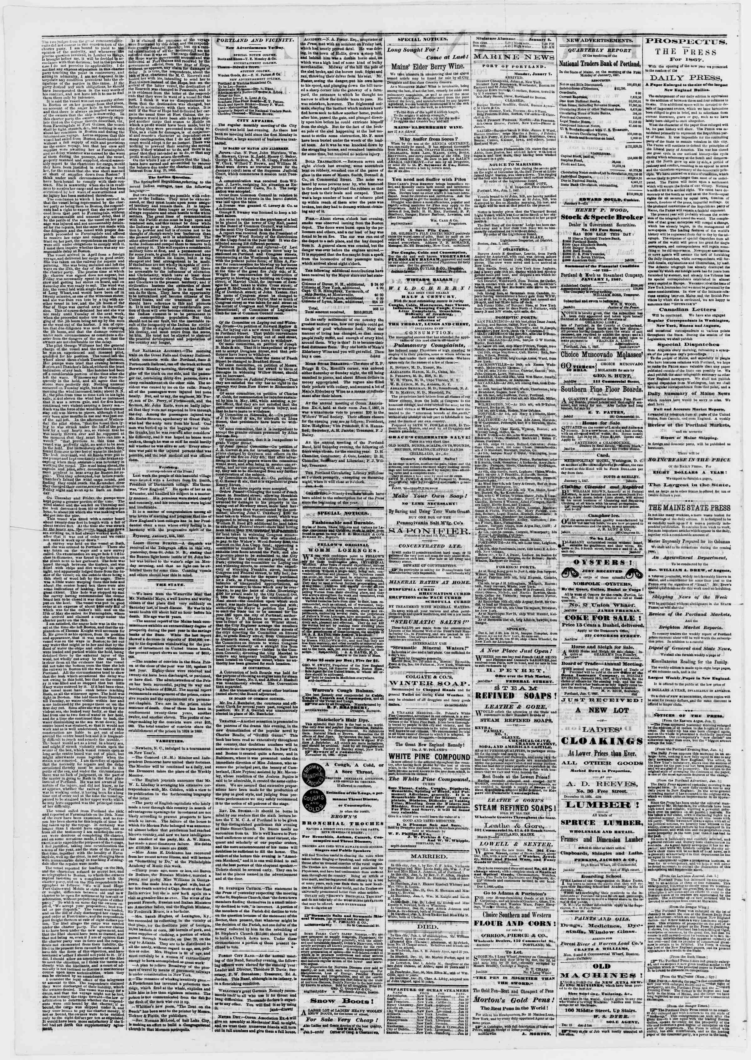 Newspaper of Portland Daily Press dated January 8, 1867 Page 2