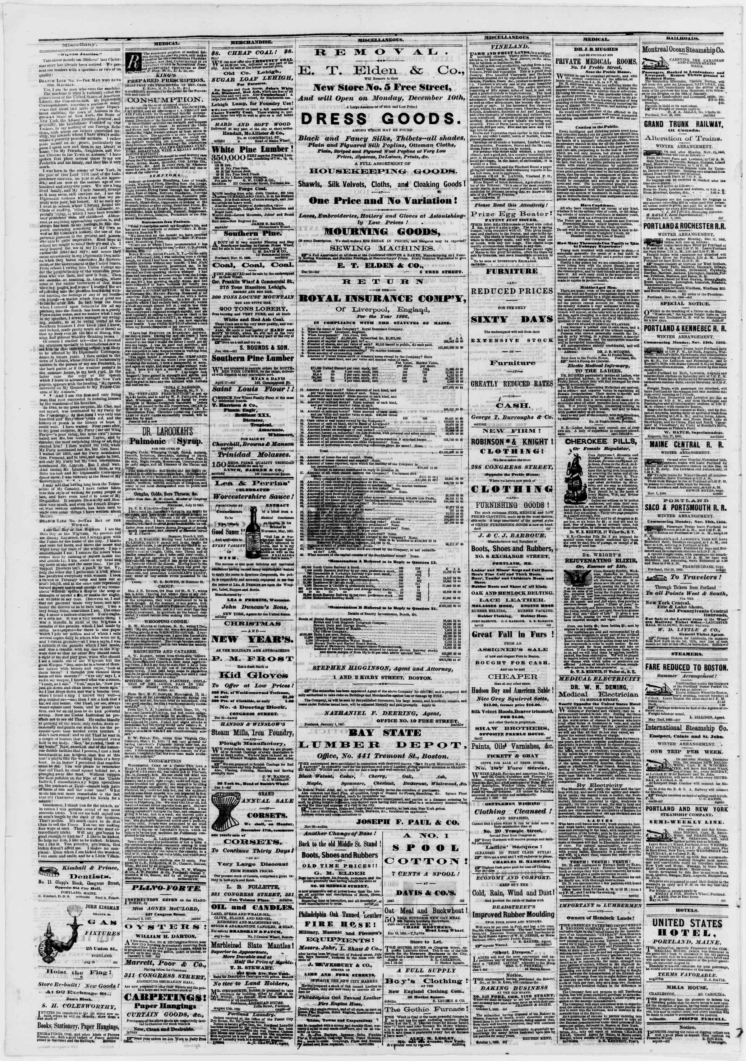 Newspaper of Portland Daily Press dated January 8, 1867 Page 4