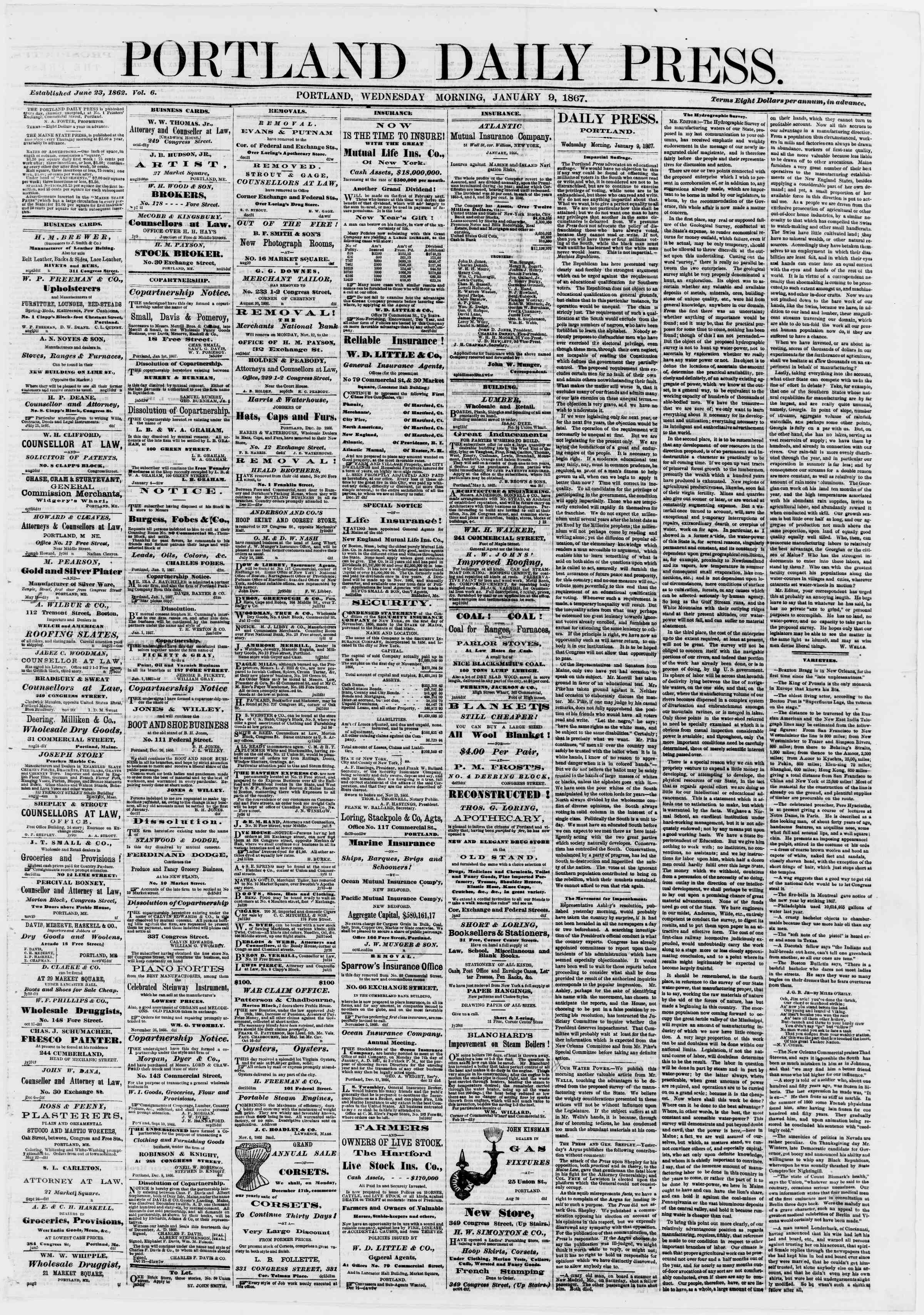 Newspaper of Portland Daily Press dated January 9, 1867 Page 1