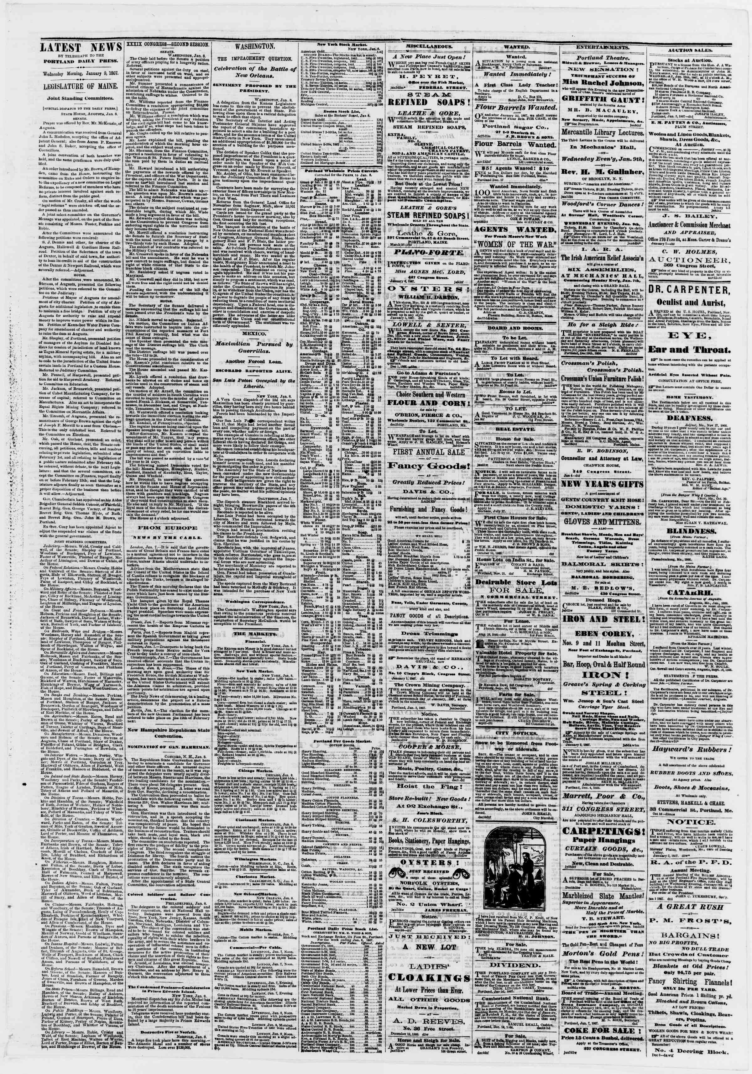Newspaper of Portland Daily Press dated January 9, 1867 Page 3
