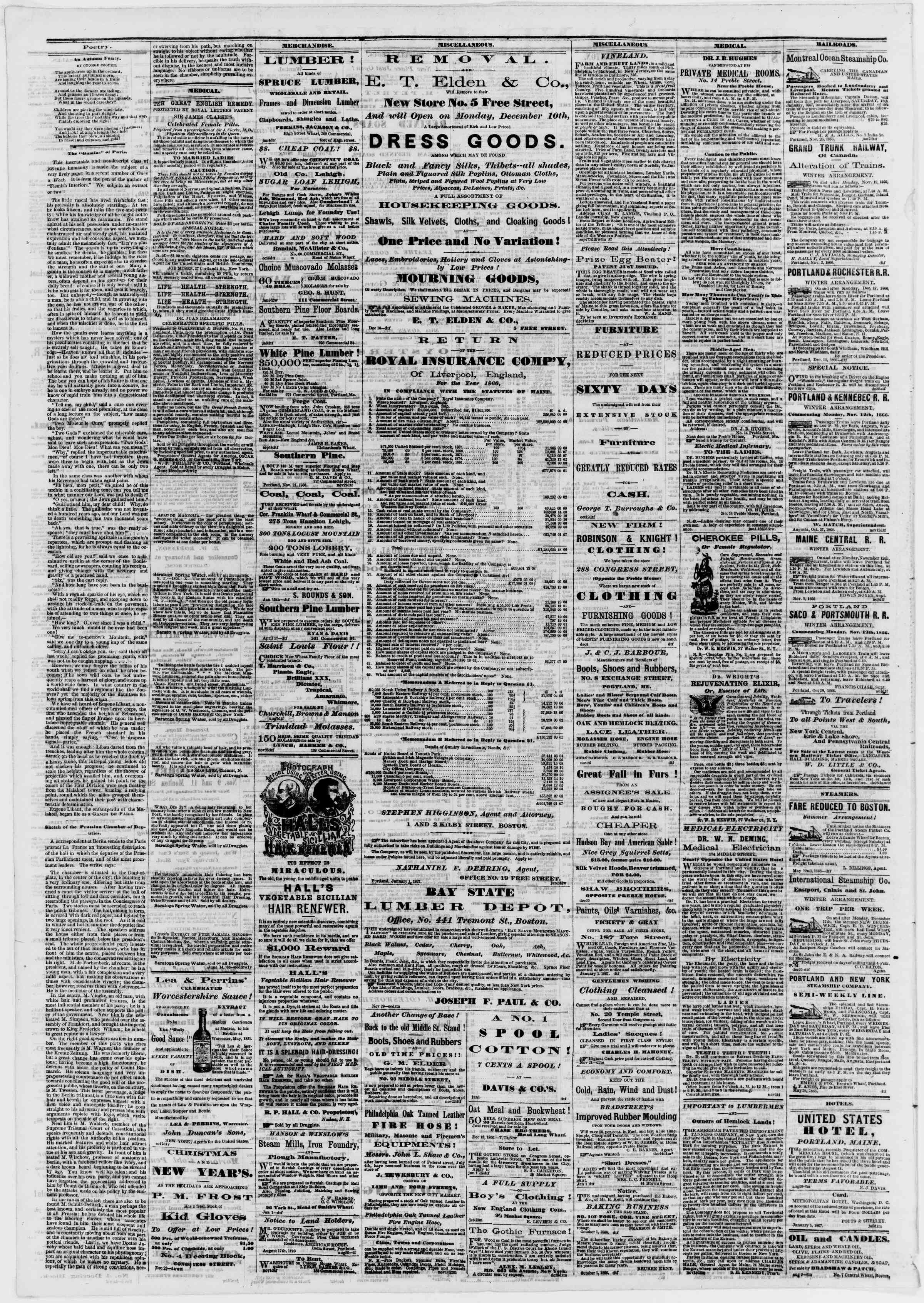 Newspaper of Portland Daily Press dated January 9, 1867 Page 4