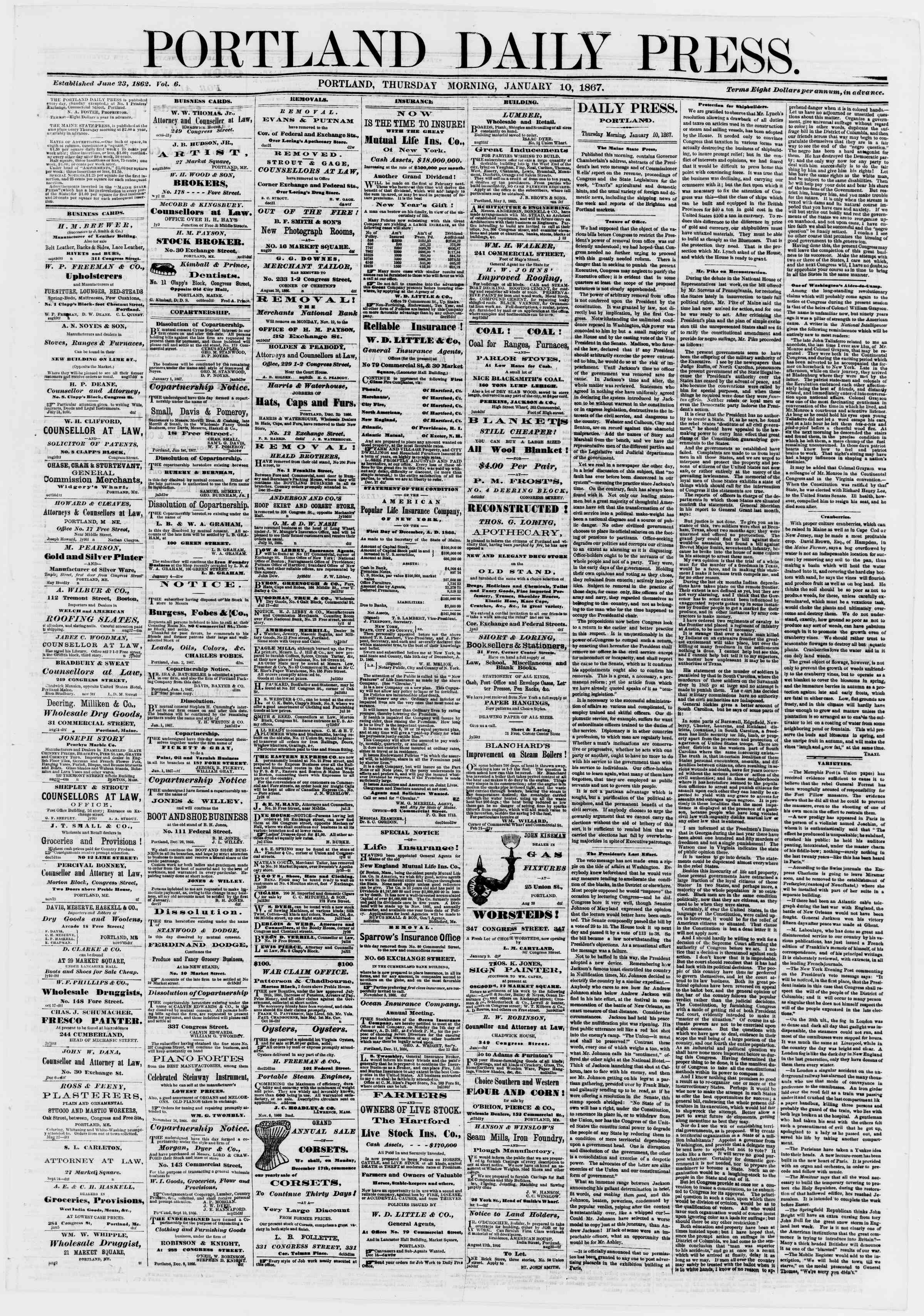 Newspaper of Portland Daily Press dated January 10, 1867 Page 1