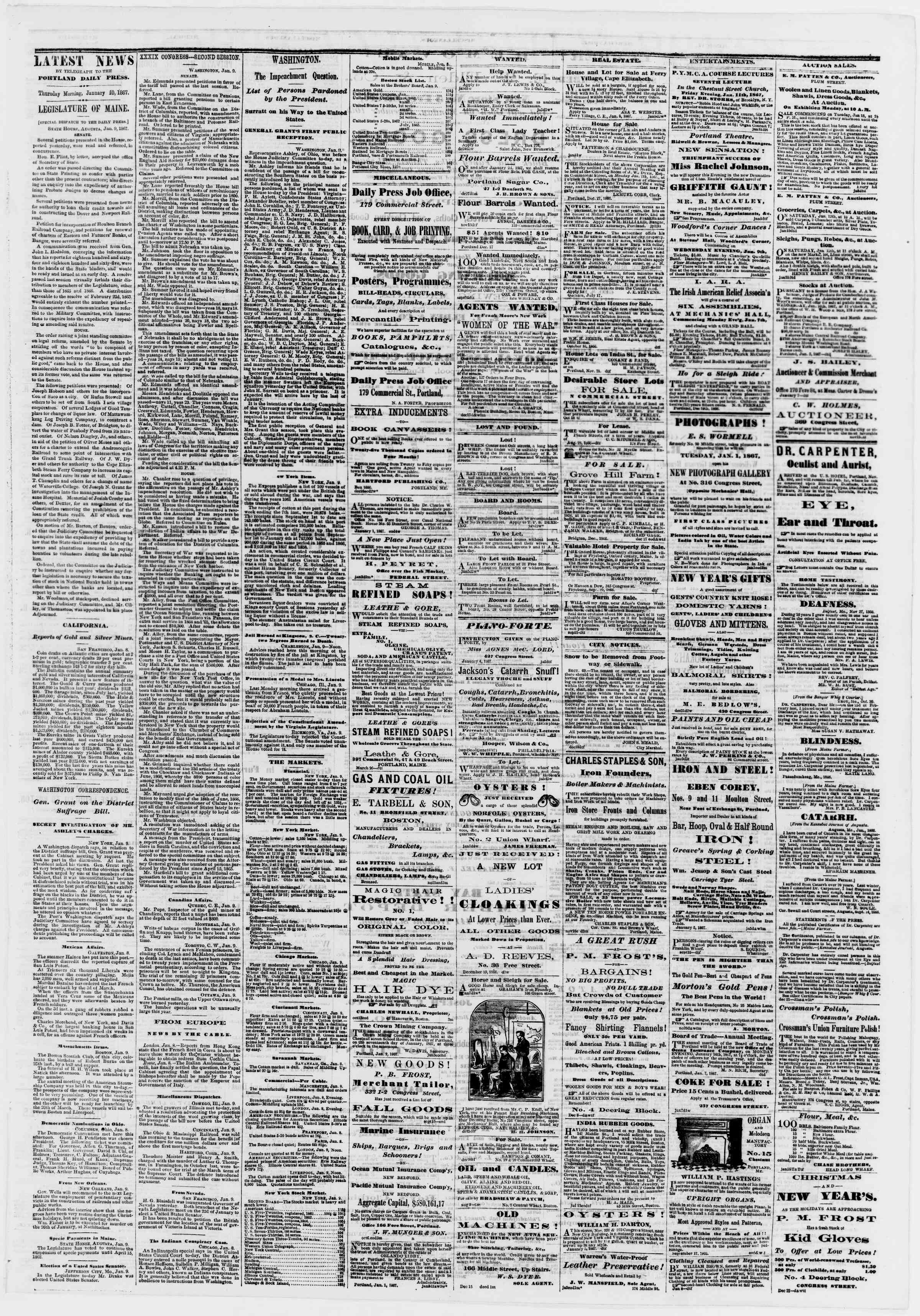 Newspaper of Portland Daily Press dated January 10, 1867 Page 3