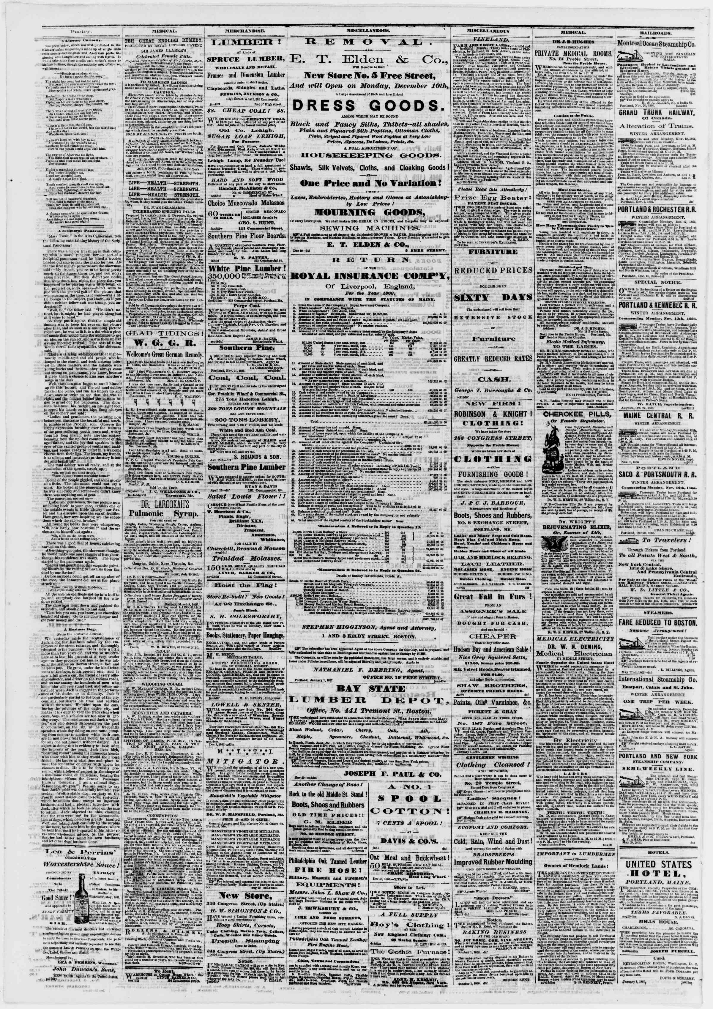 Newspaper of Portland Daily Press dated January 10, 1867 Page 4