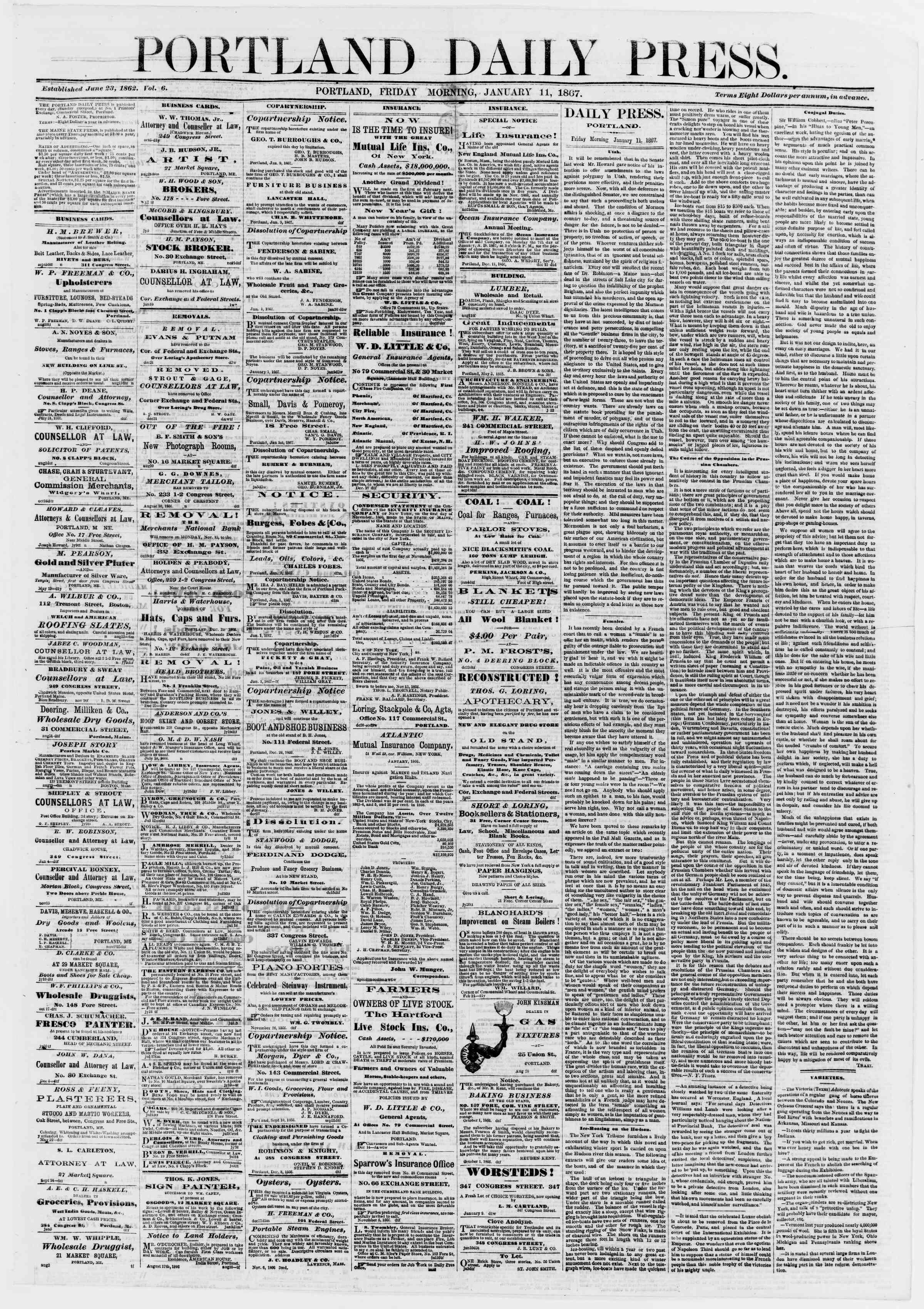 Newspaper of Portland Daily Press dated 11 Ocak 1867 Page 1