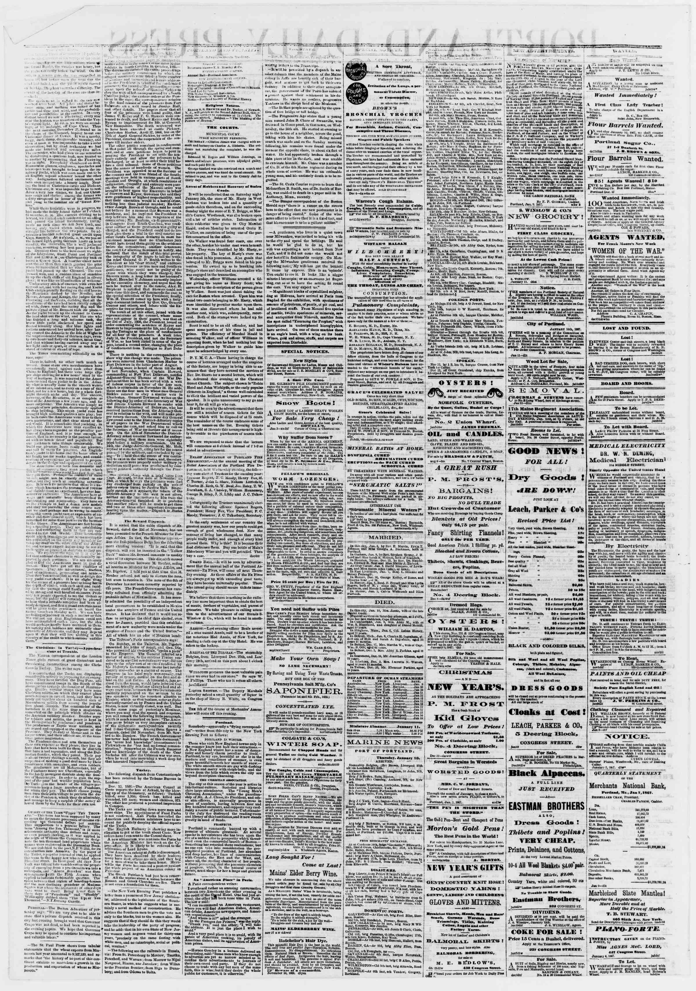 Newspaper of Portland Daily Press dated January 11, 1867 Page 2