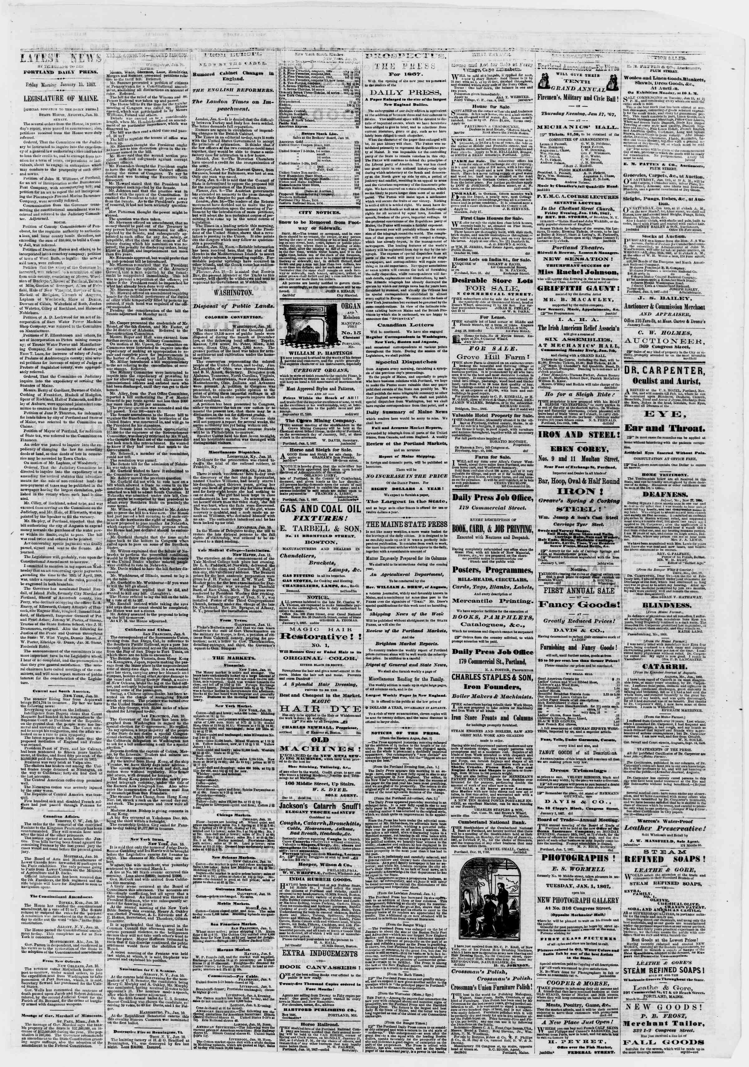 Newspaper of Portland Daily Press dated January 11, 1867 Page 3