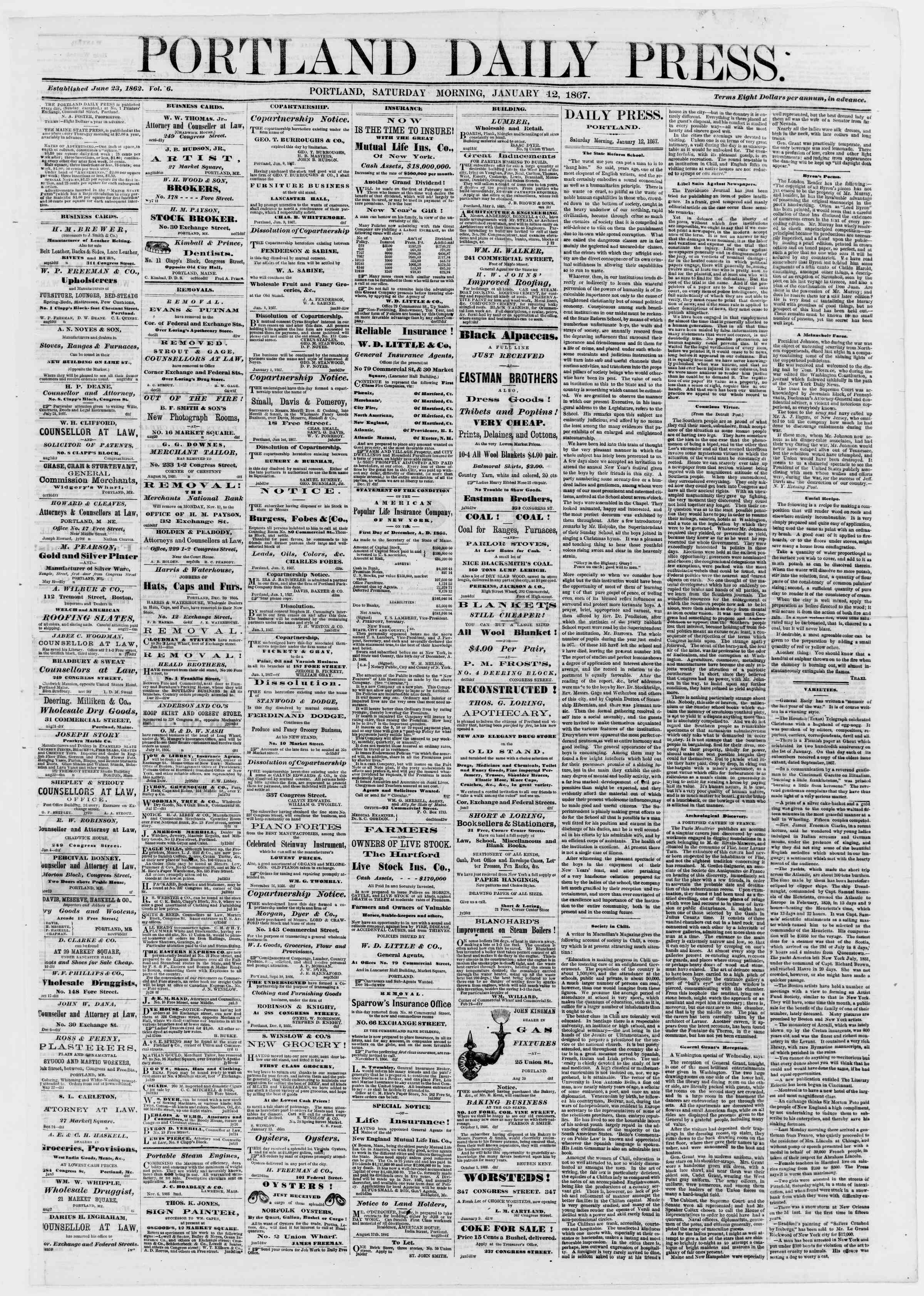 Newspaper of Portland Daily Press dated January 12, 1867 Page 1