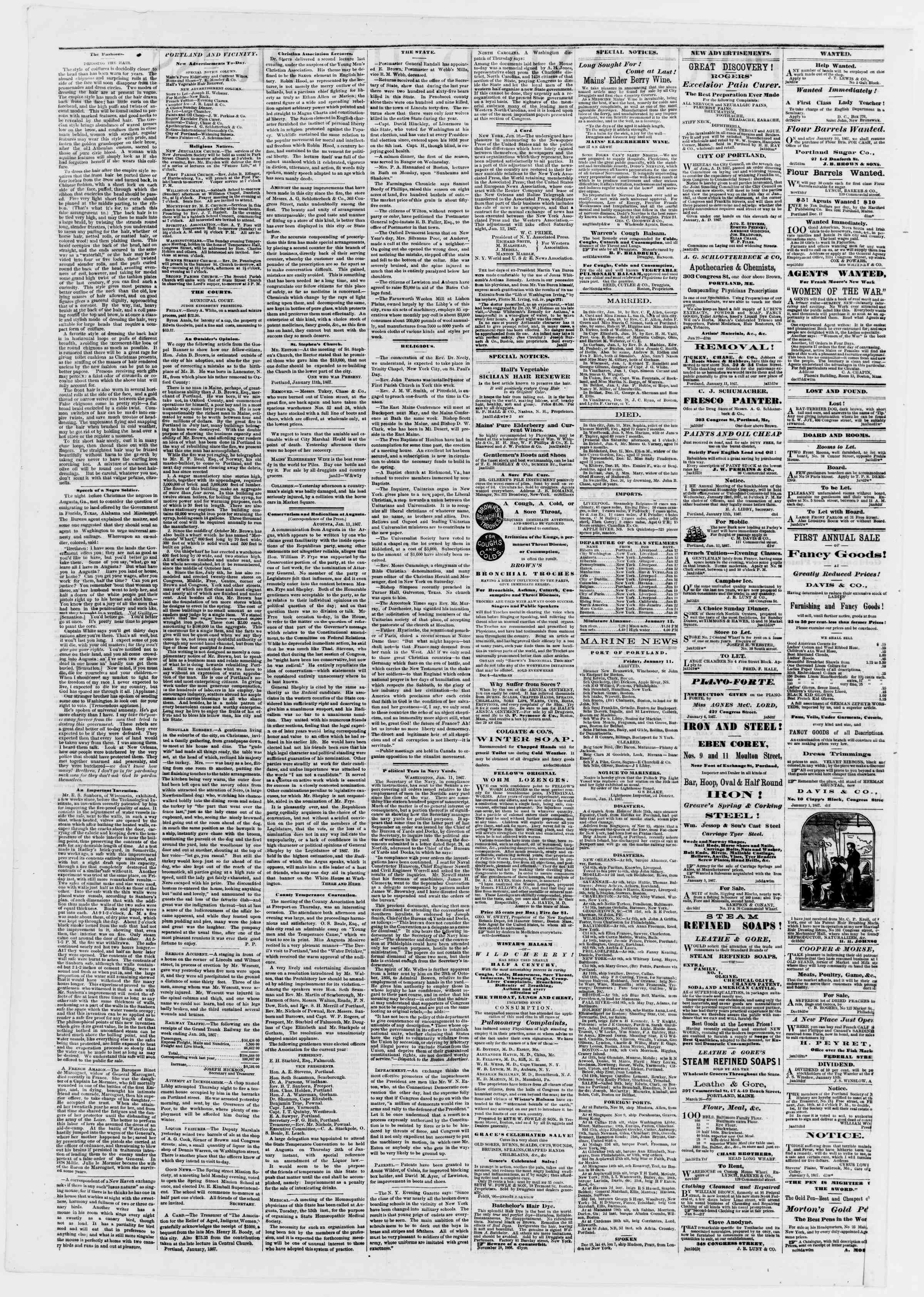 Newspaper of Portland Daily Press dated January 12, 1867 Page 2