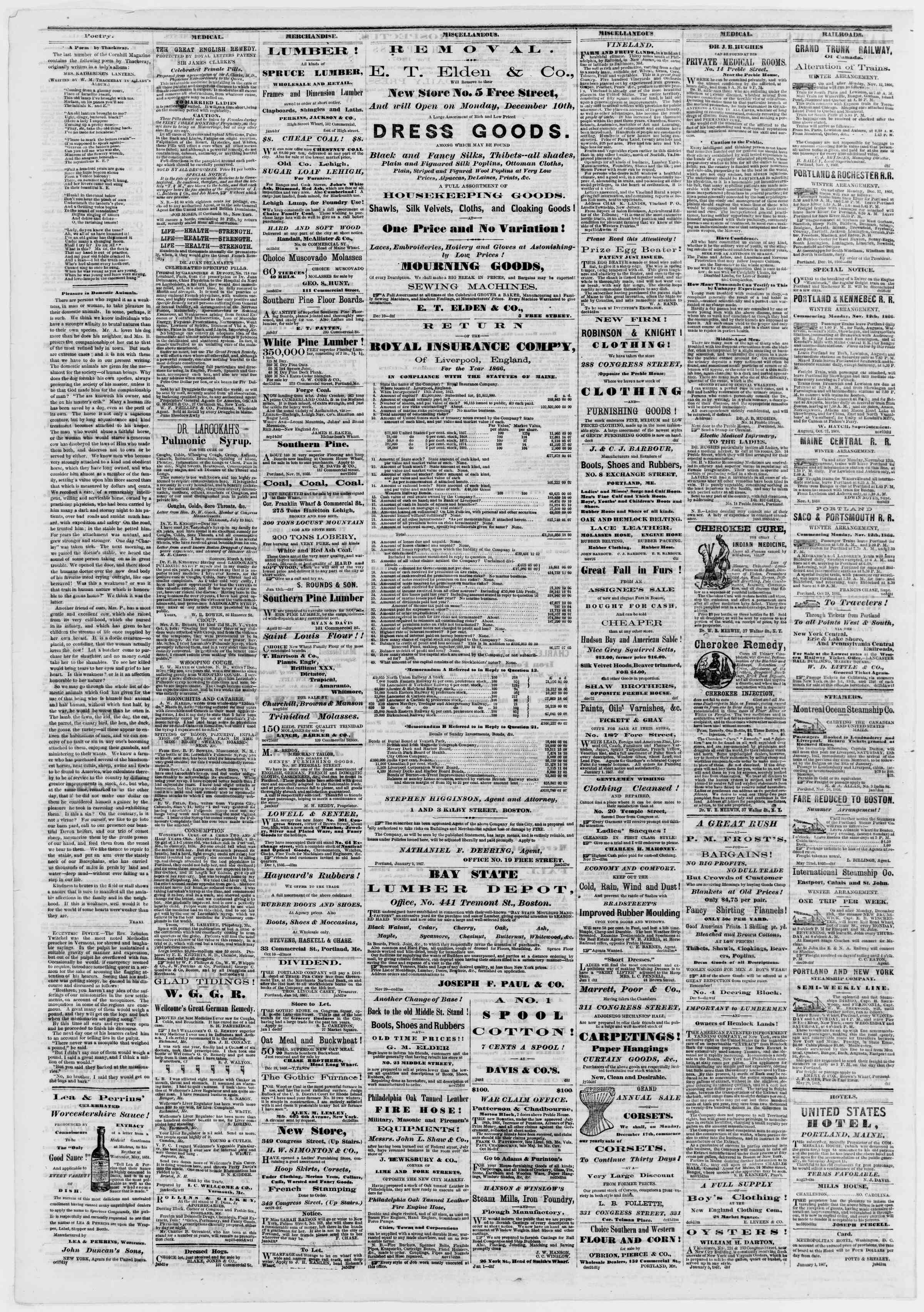 Newspaper of Portland Daily Press dated January 12, 1867 Page 4