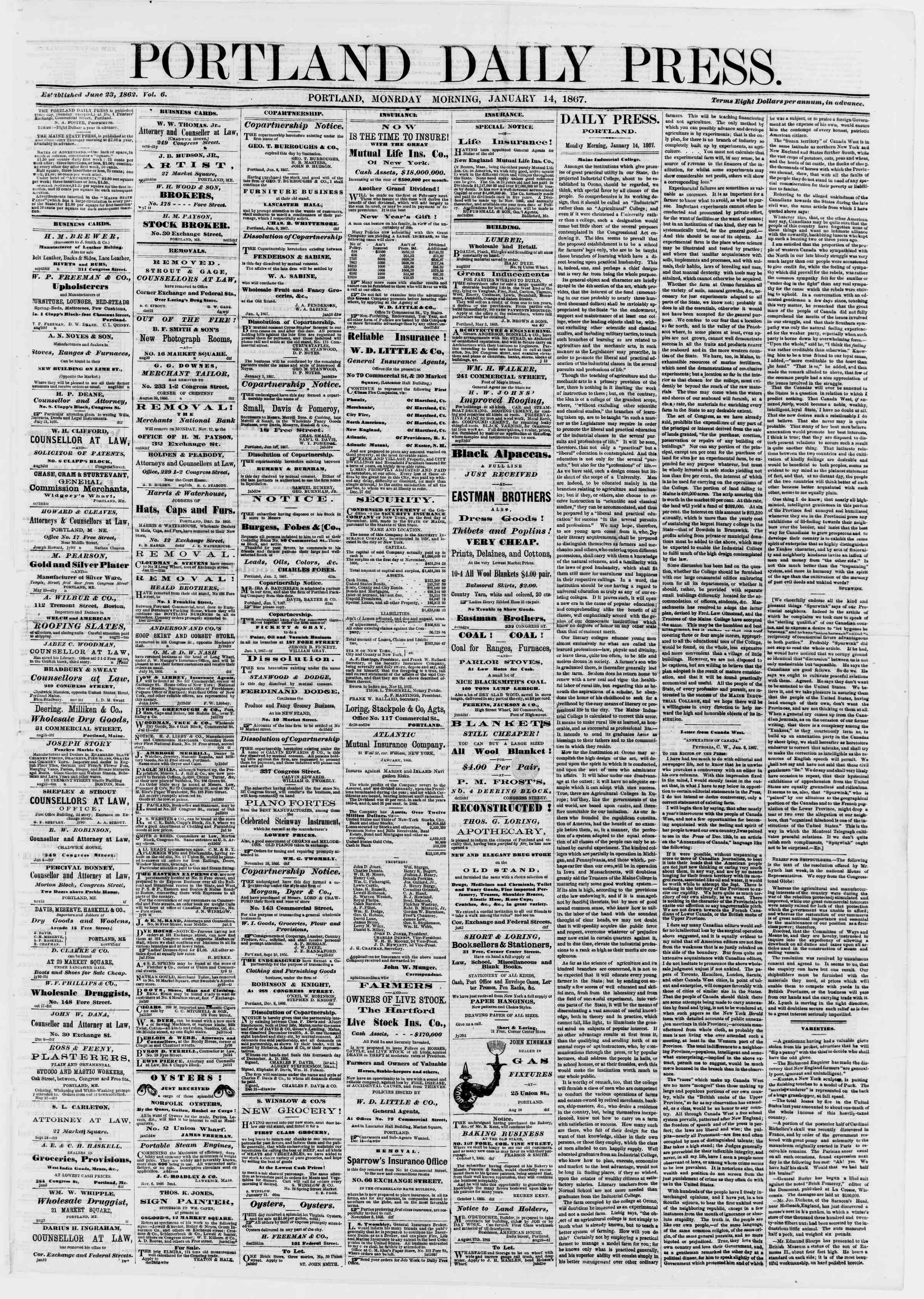 Newspaper of Portland Daily Press dated January 14, 1867 Page 1