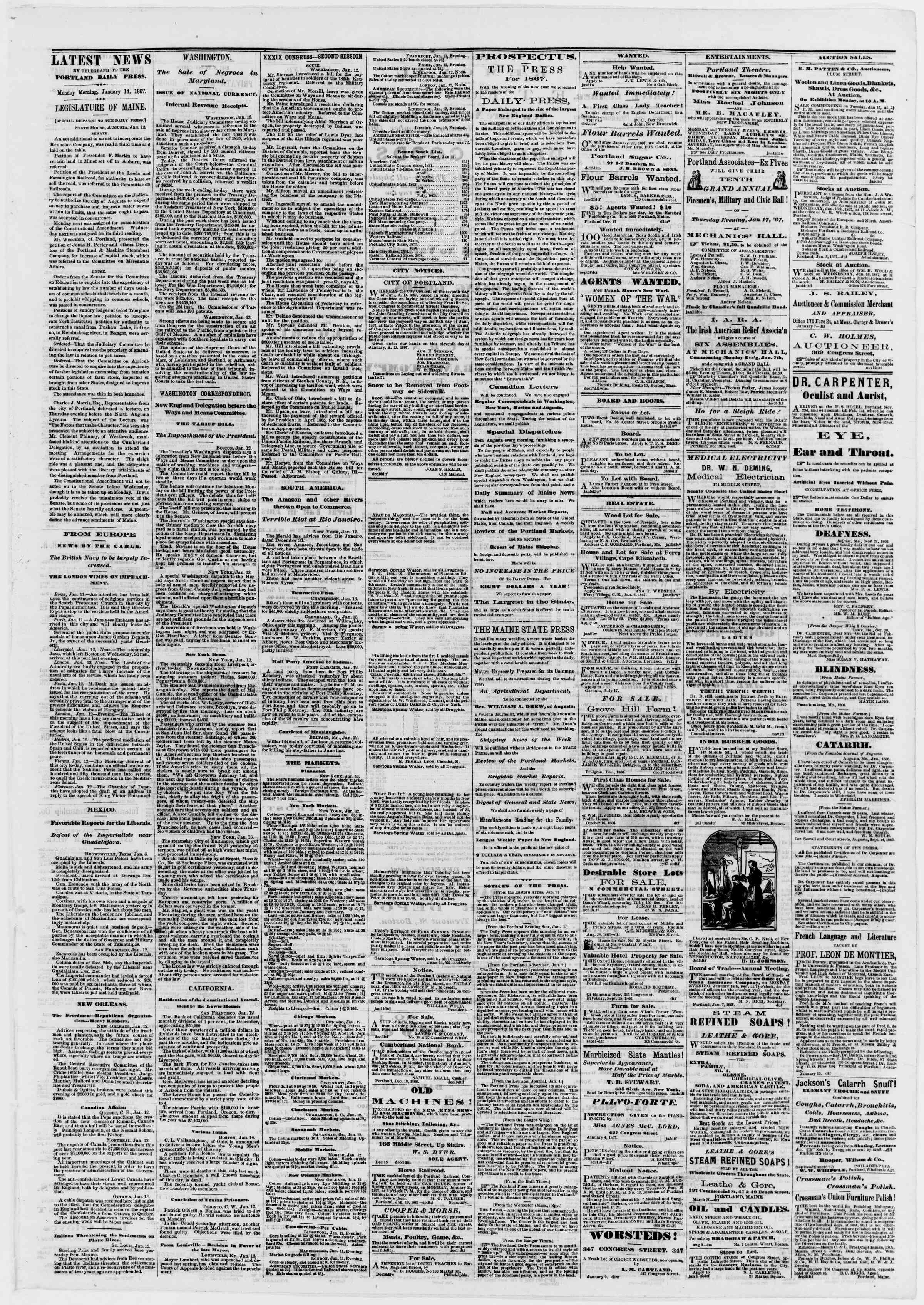 Newspaper of Portland Daily Press dated January 14, 1867 Page 3