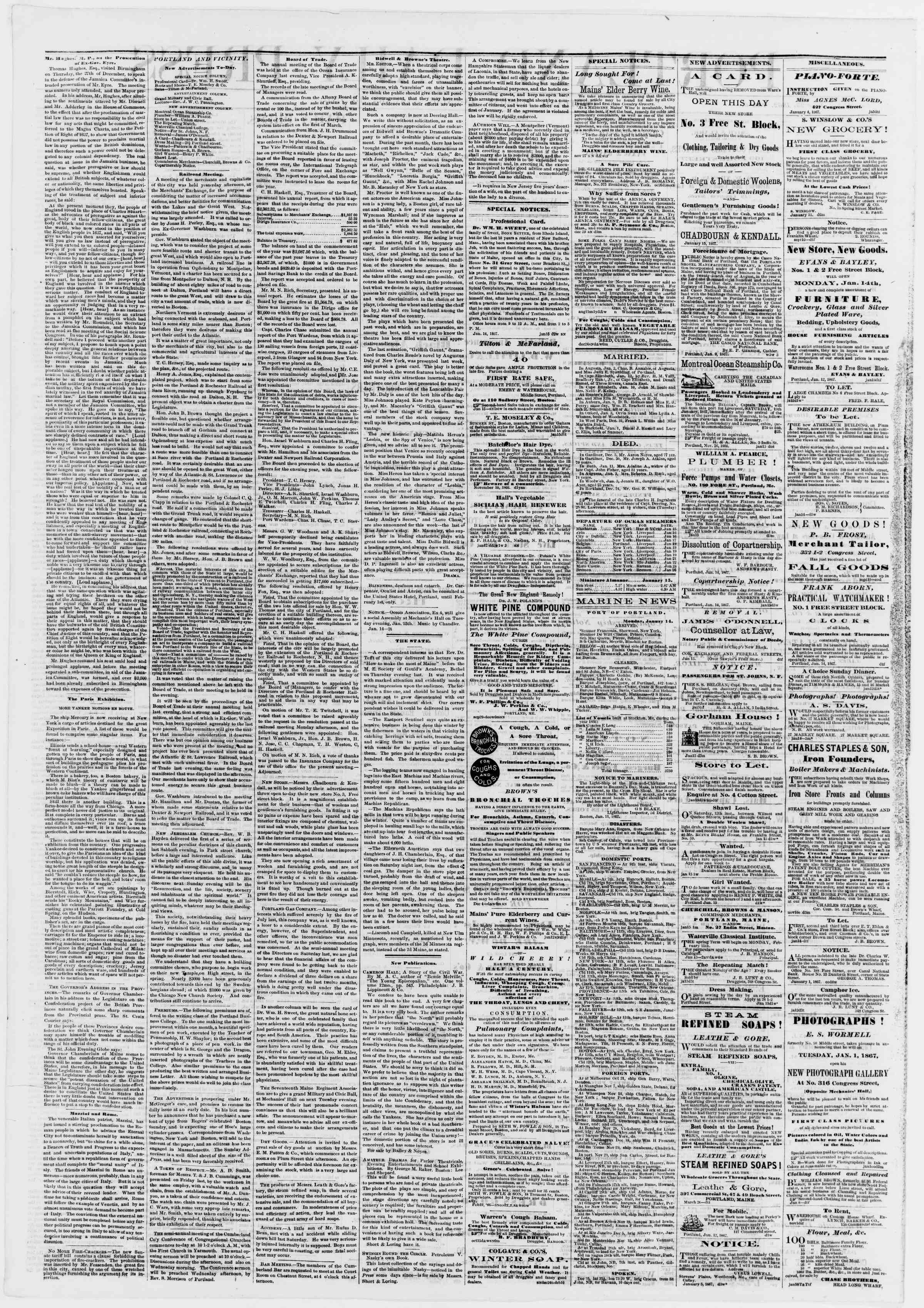 Newspaper of Portland Daily Press dated January 15, 1867 Page 2
