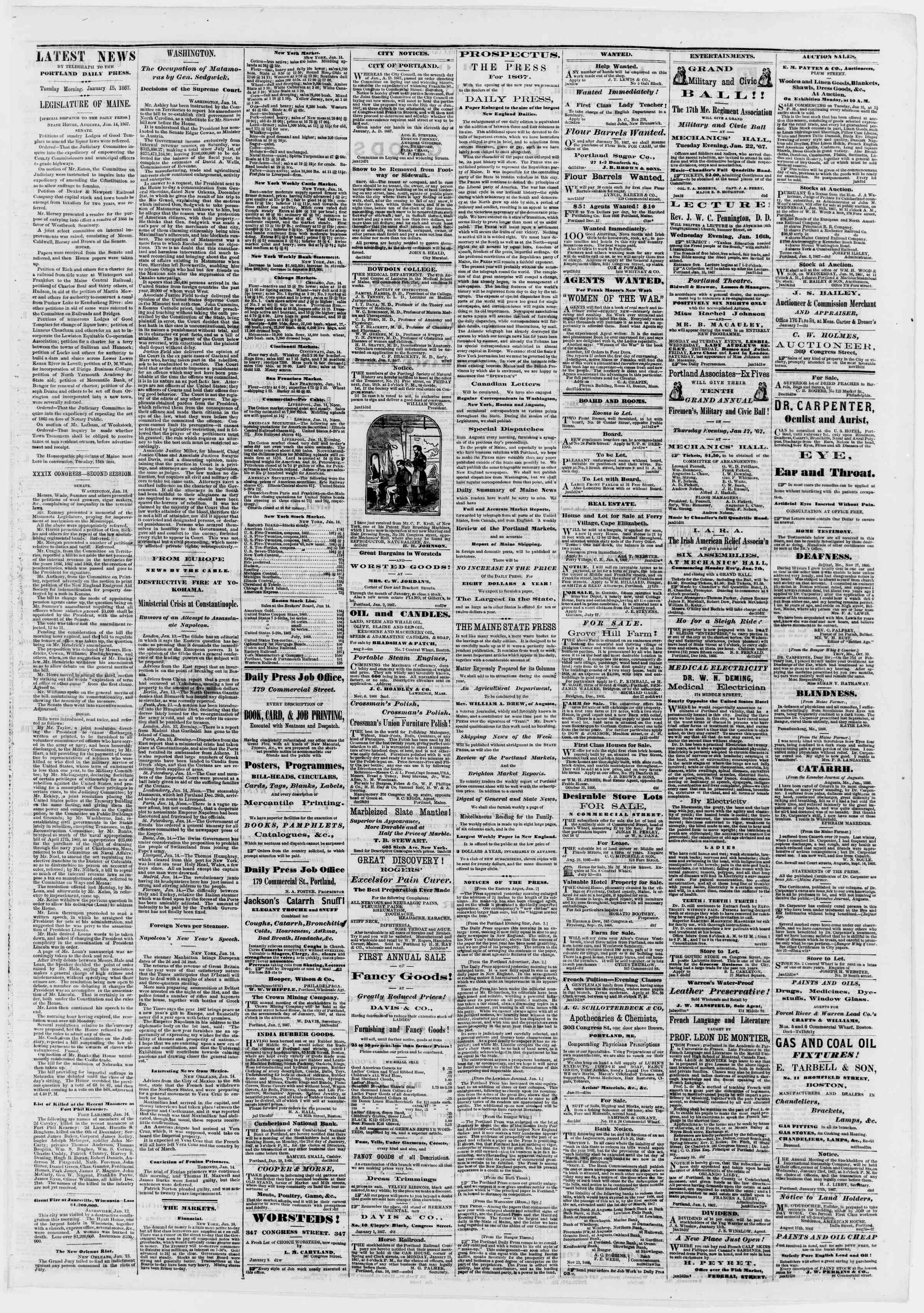 Newspaper of Portland Daily Press dated January 15, 1867 Page 3