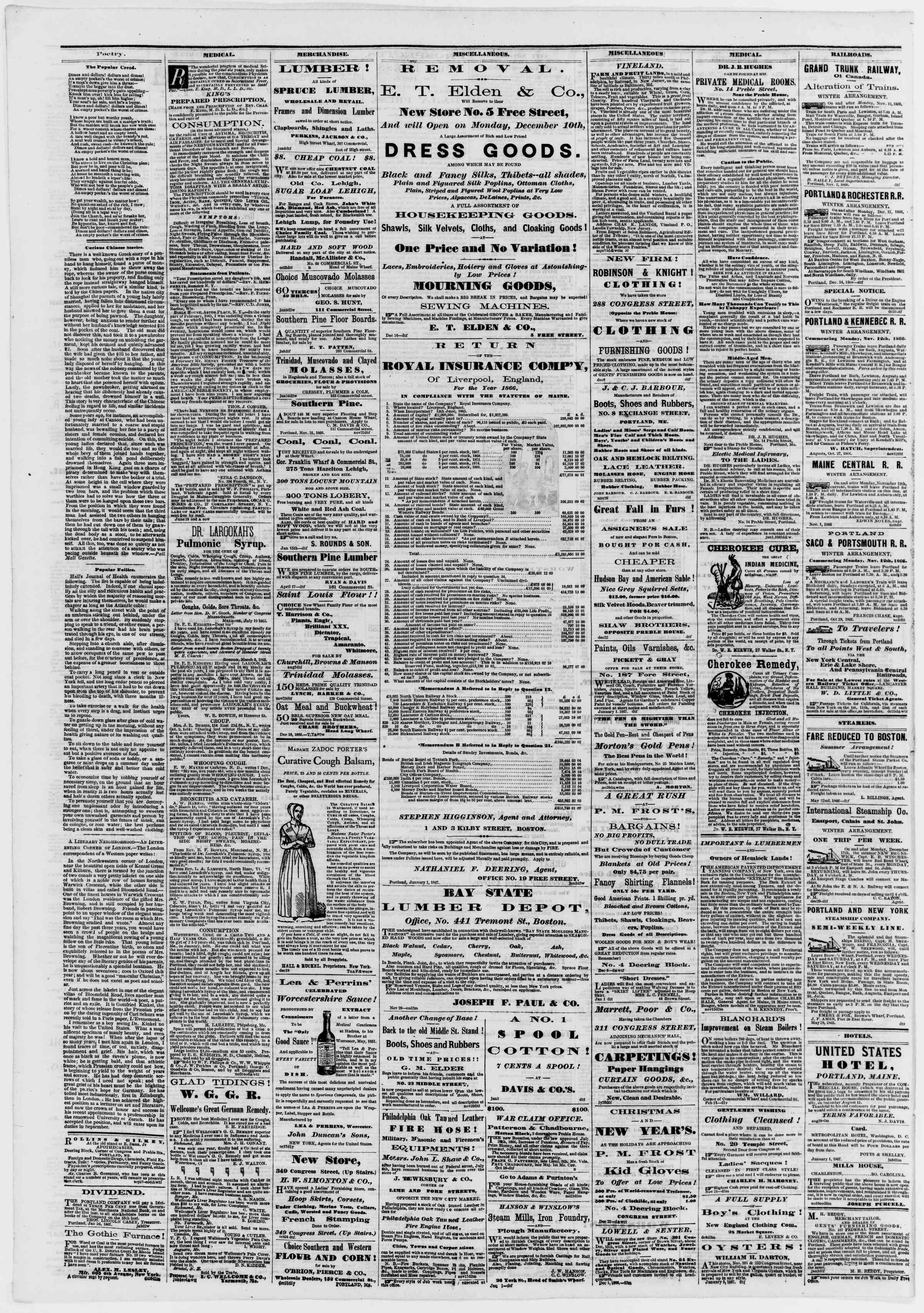 Newspaper of Portland Daily Press dated January 15, 1867 Page 4