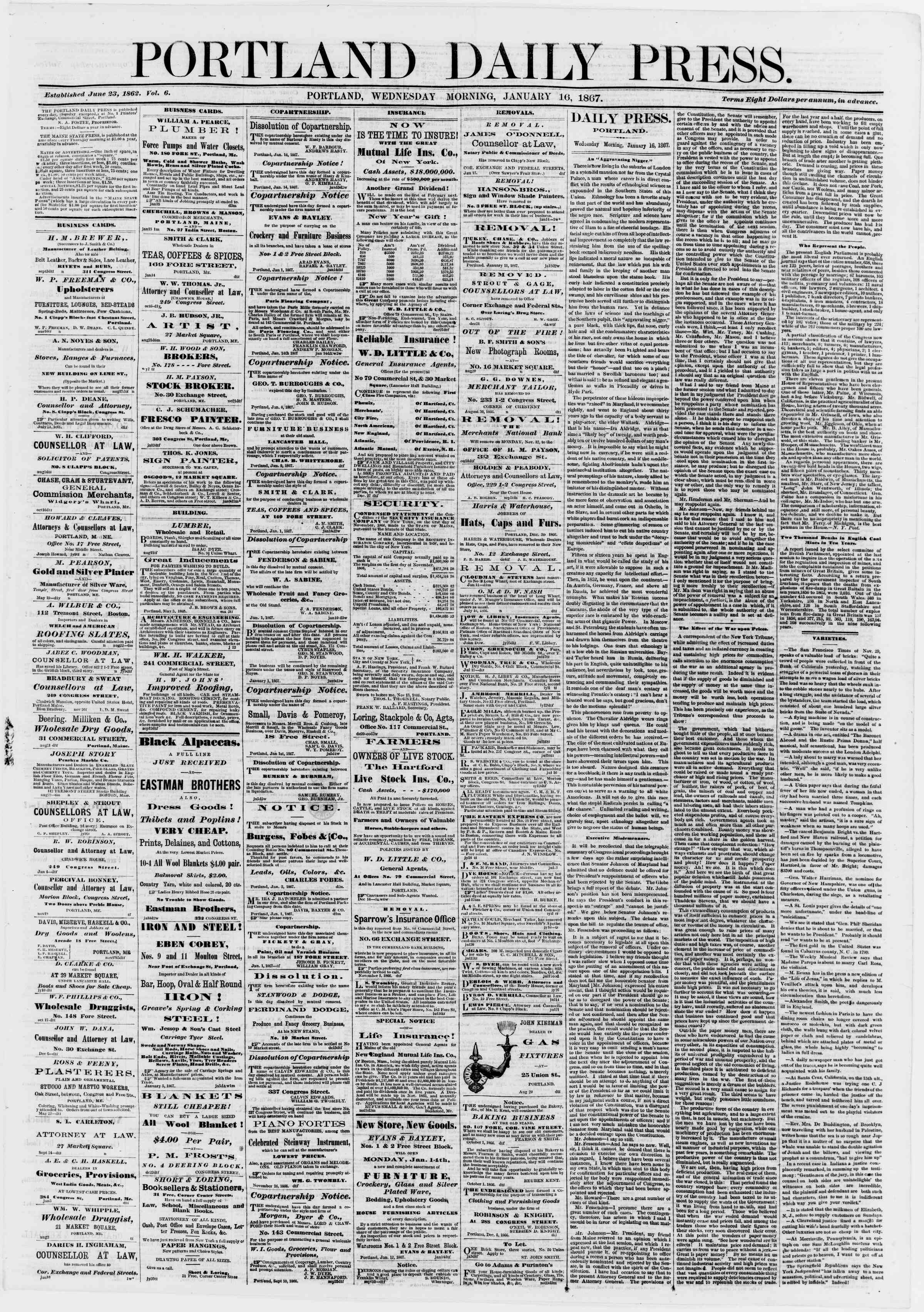 Newspaper of Portland Daily Press dated January 16, 1867 Page 1