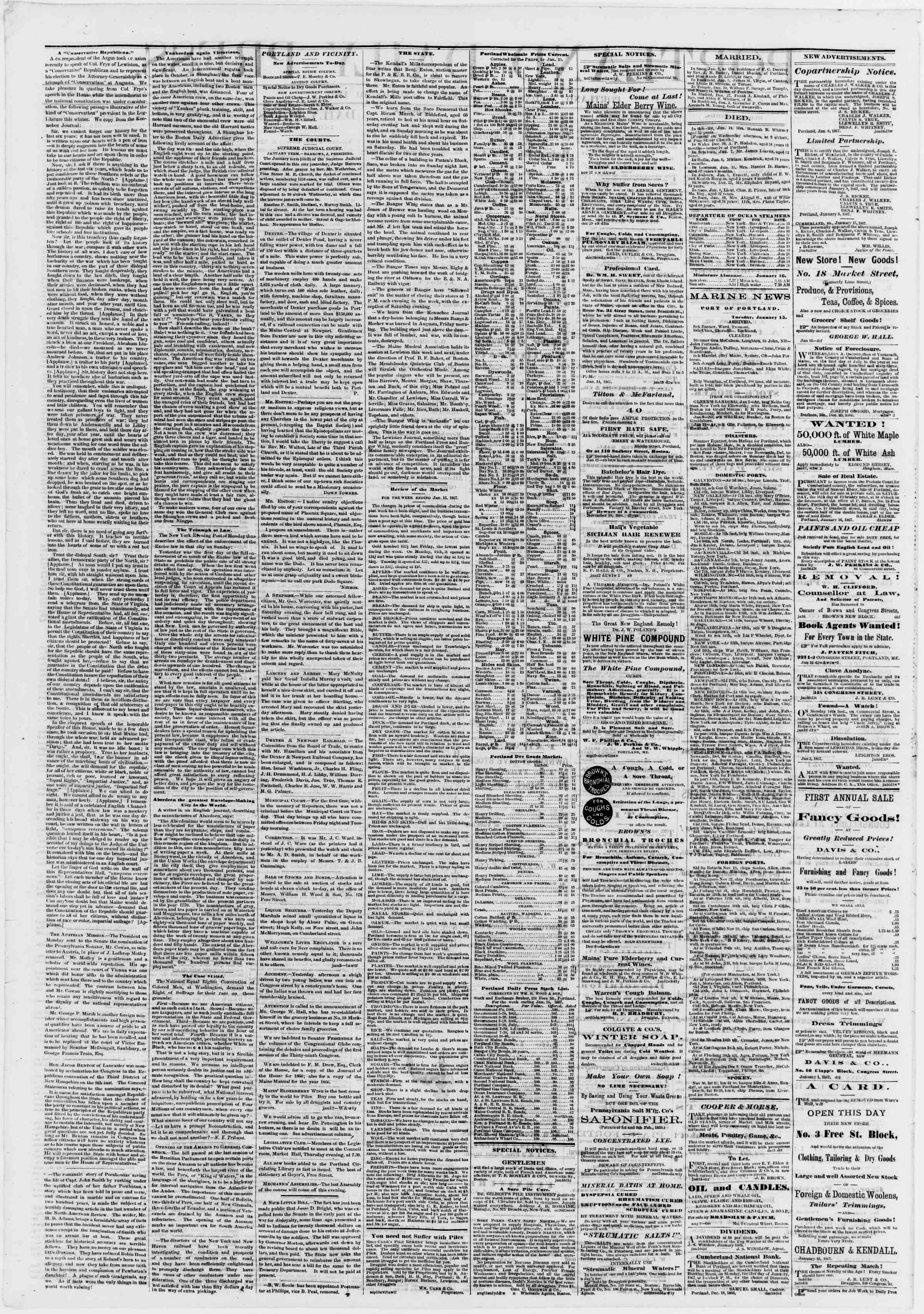 Newspaper of Portland Daily Press dated January 16, 1867 Page 2