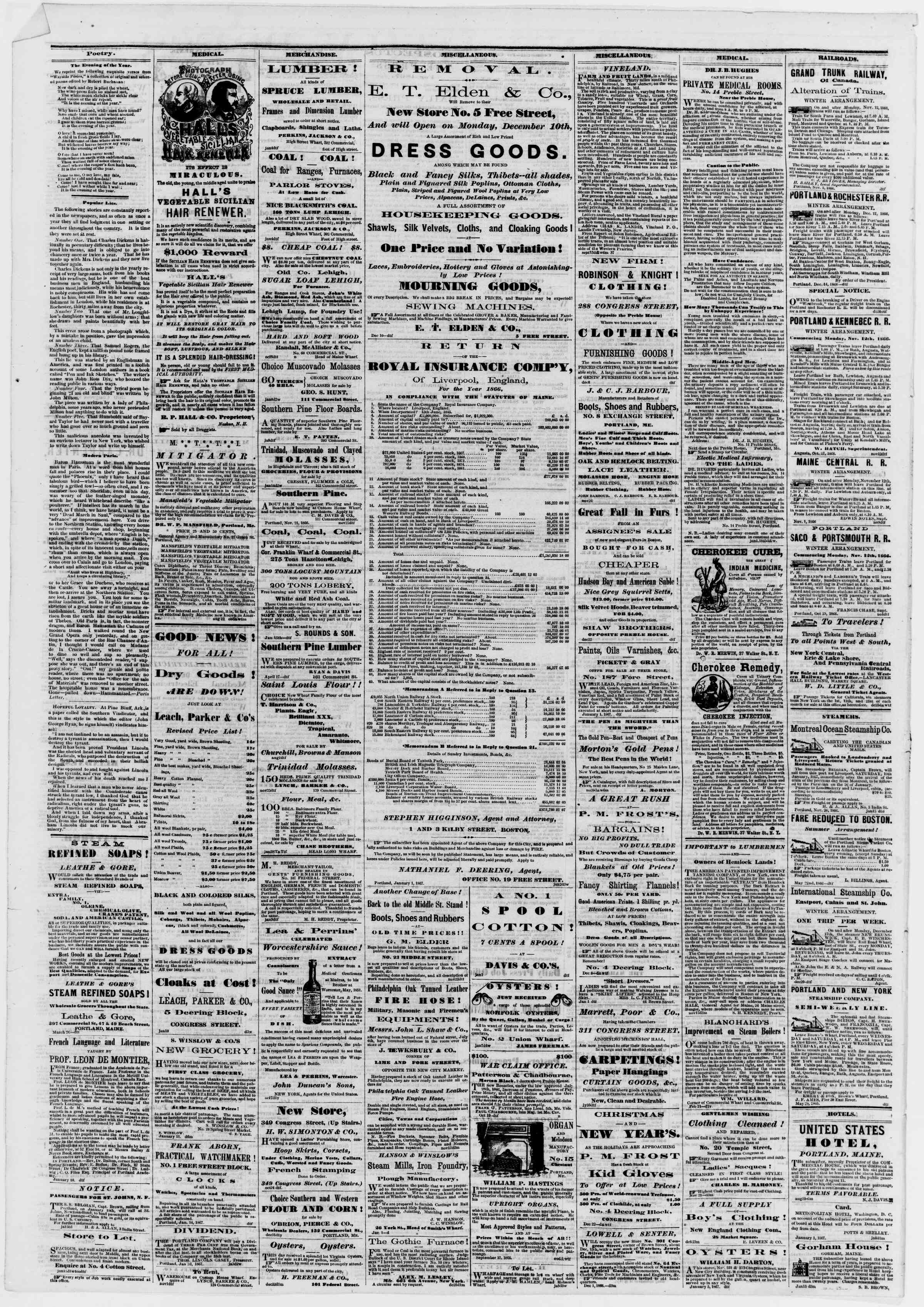 Newspaper of Portland Daily Press dated January 16, 1867 Page 4