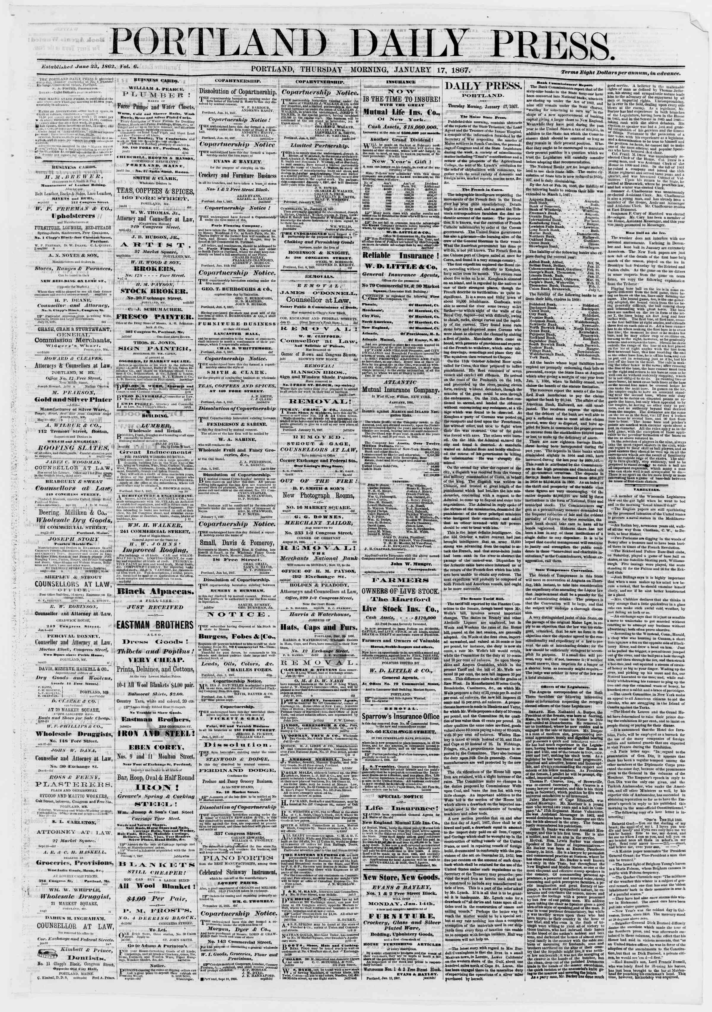 Newspaper of Portland Daily Press dated January 17, 1867 Page 1