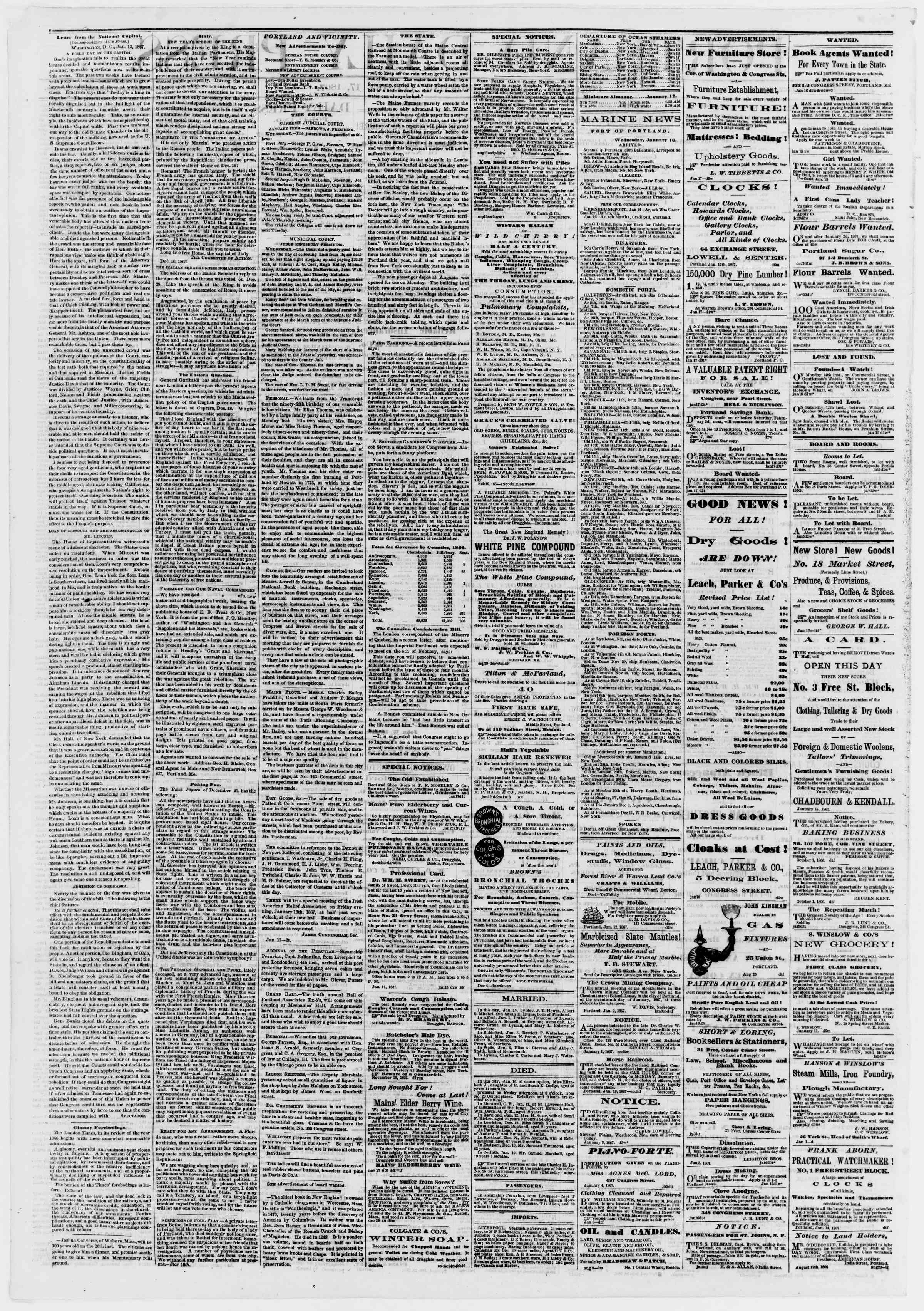 Newspaper of Portland Daily Press dated January 17, 1867 Page 2