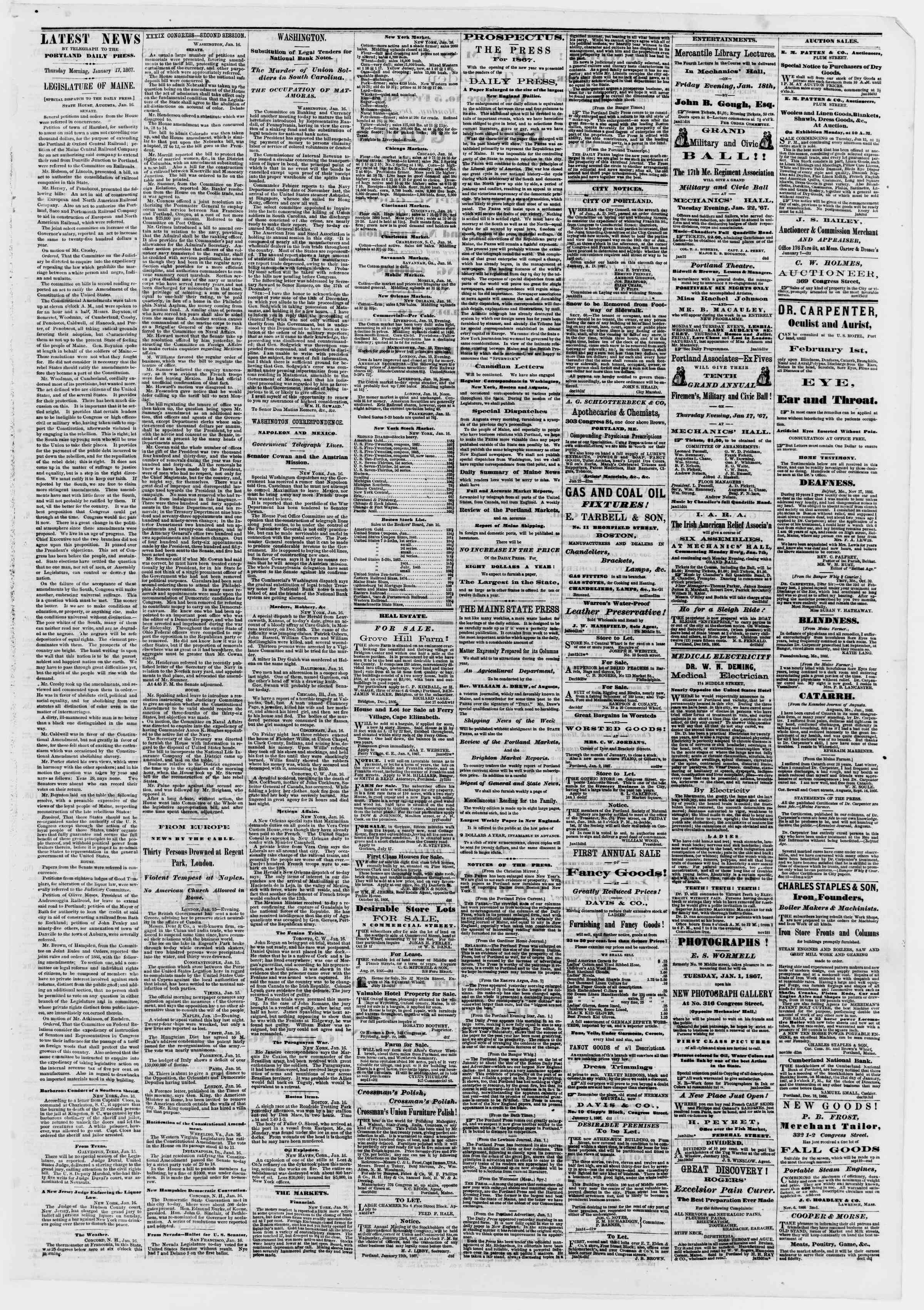 Newspaper of Portland Daily Press dated January 17, 1867 Page 3