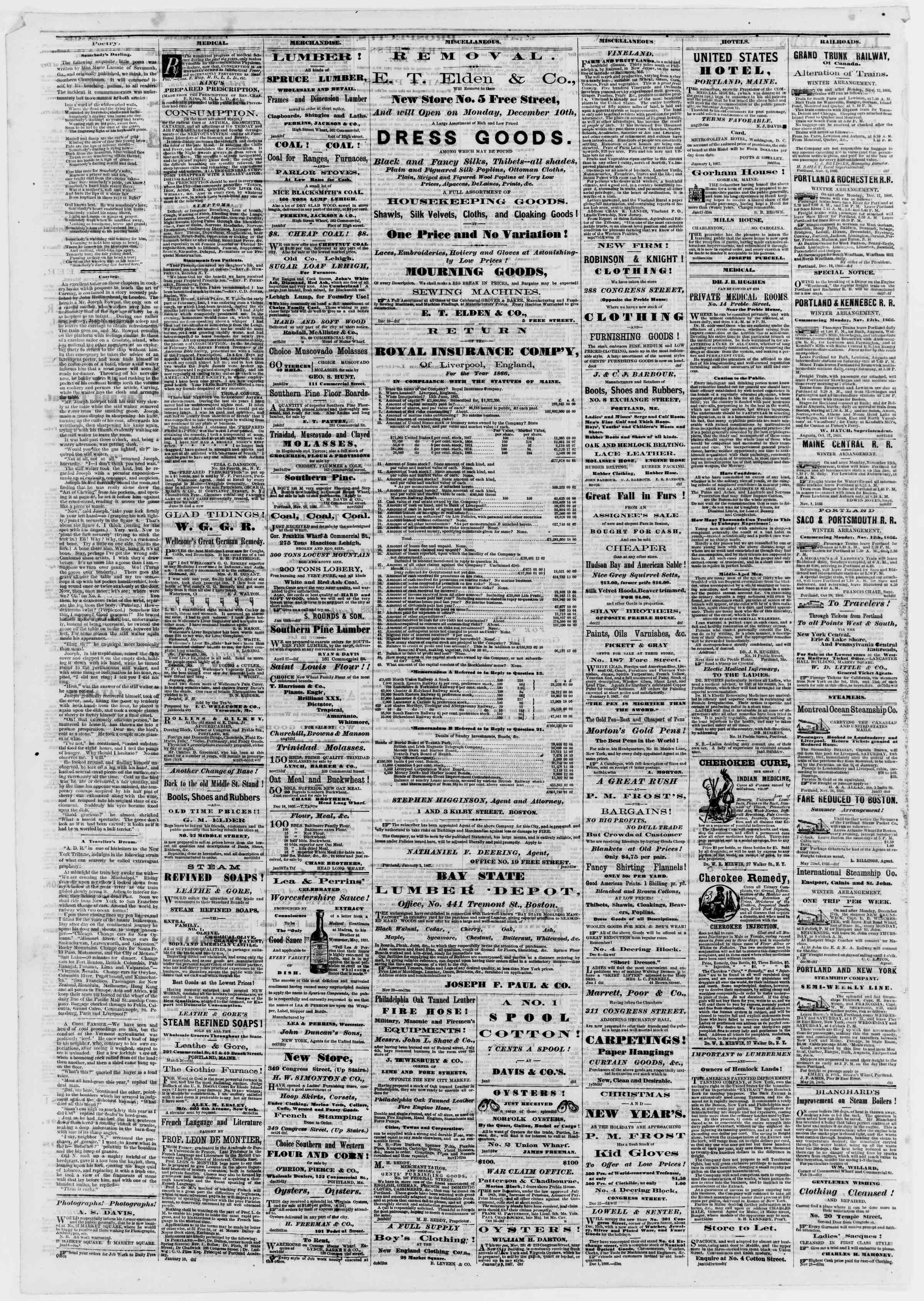 Newspaper of Portland Daily Press dated January 17, 1867 Page 4