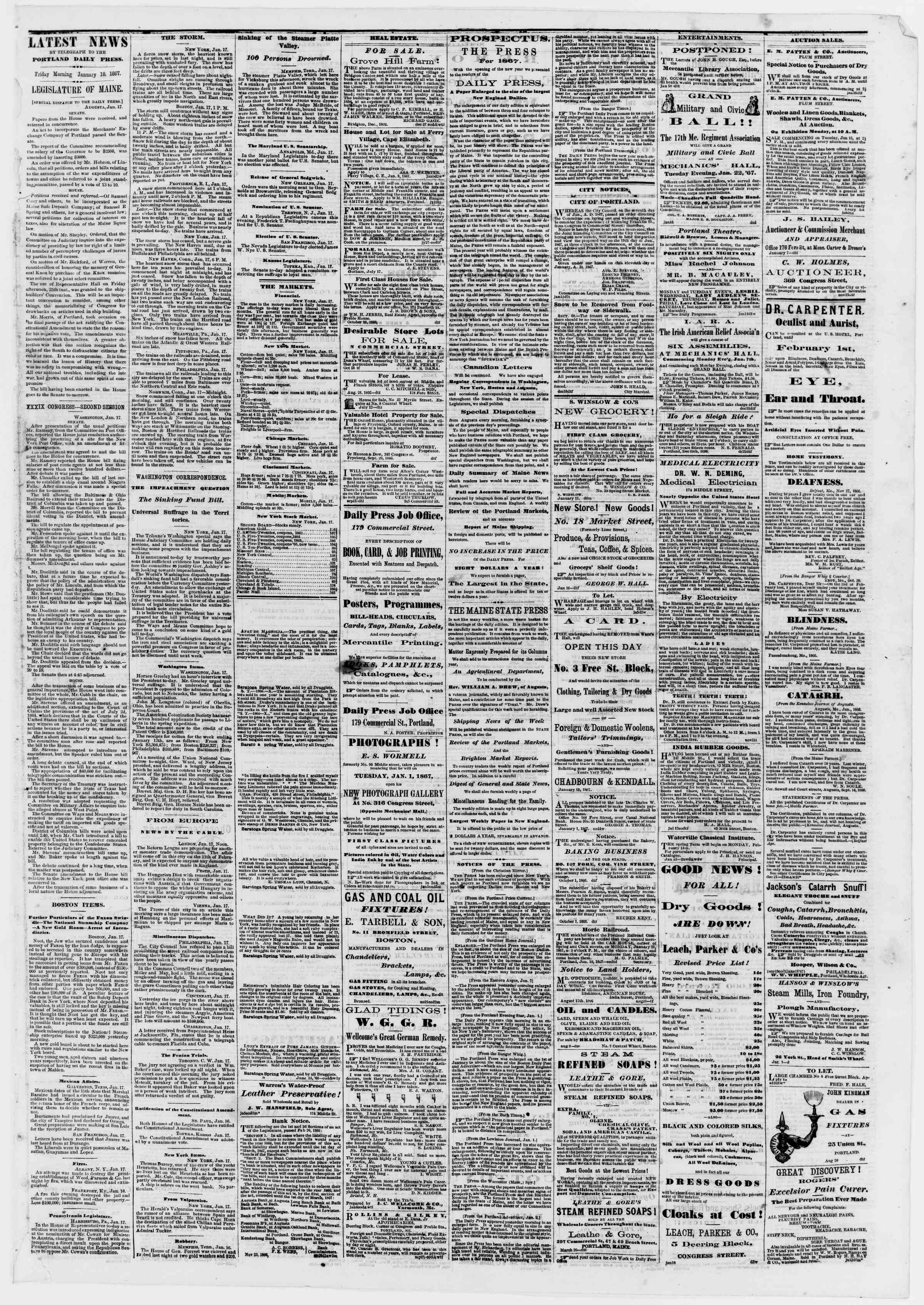 Newspaper of Portland Daily Press dated January 18, 1867 Page 3