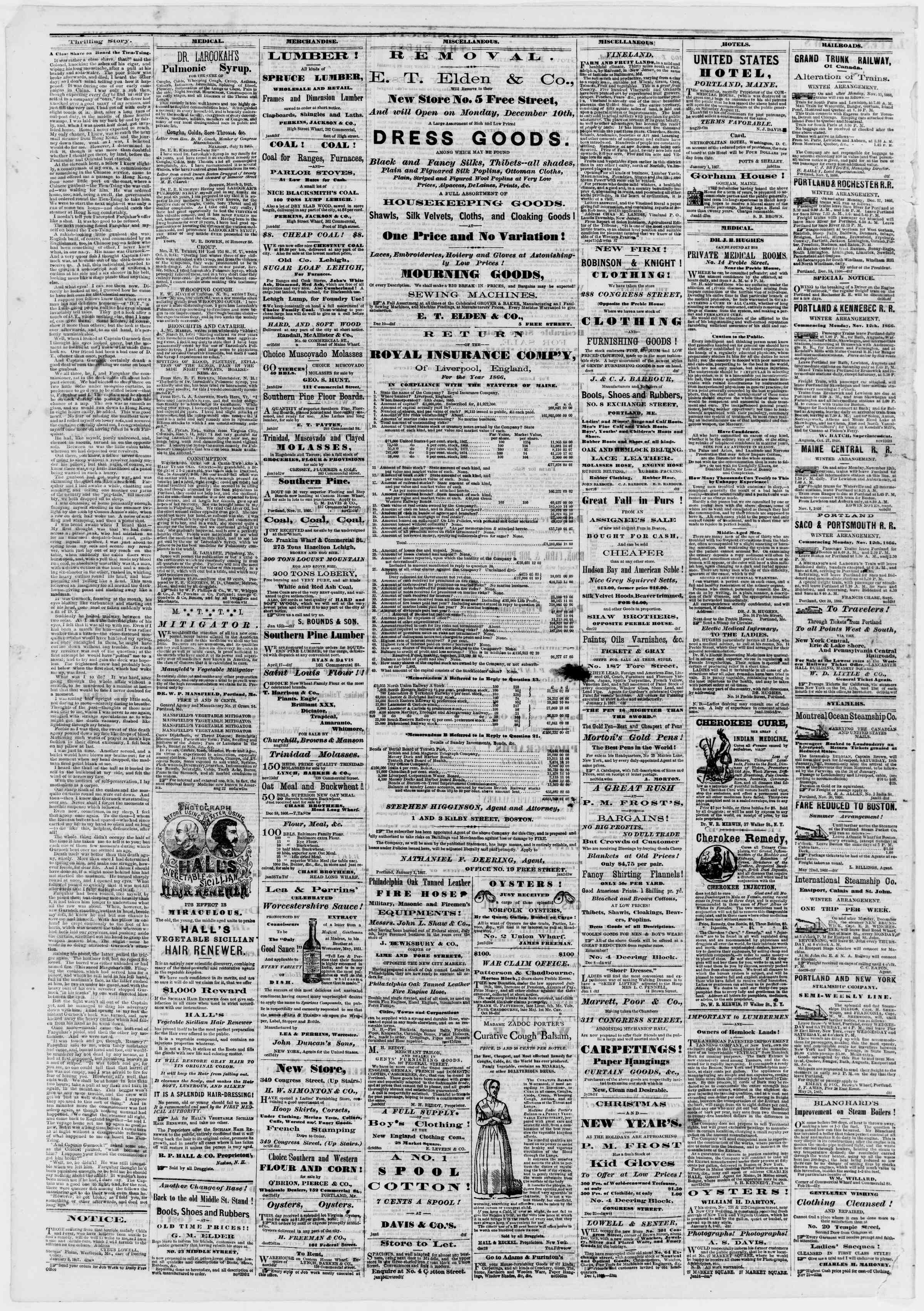 Newspaper of Portland Daily Press dated January 18, 1867 Page 4