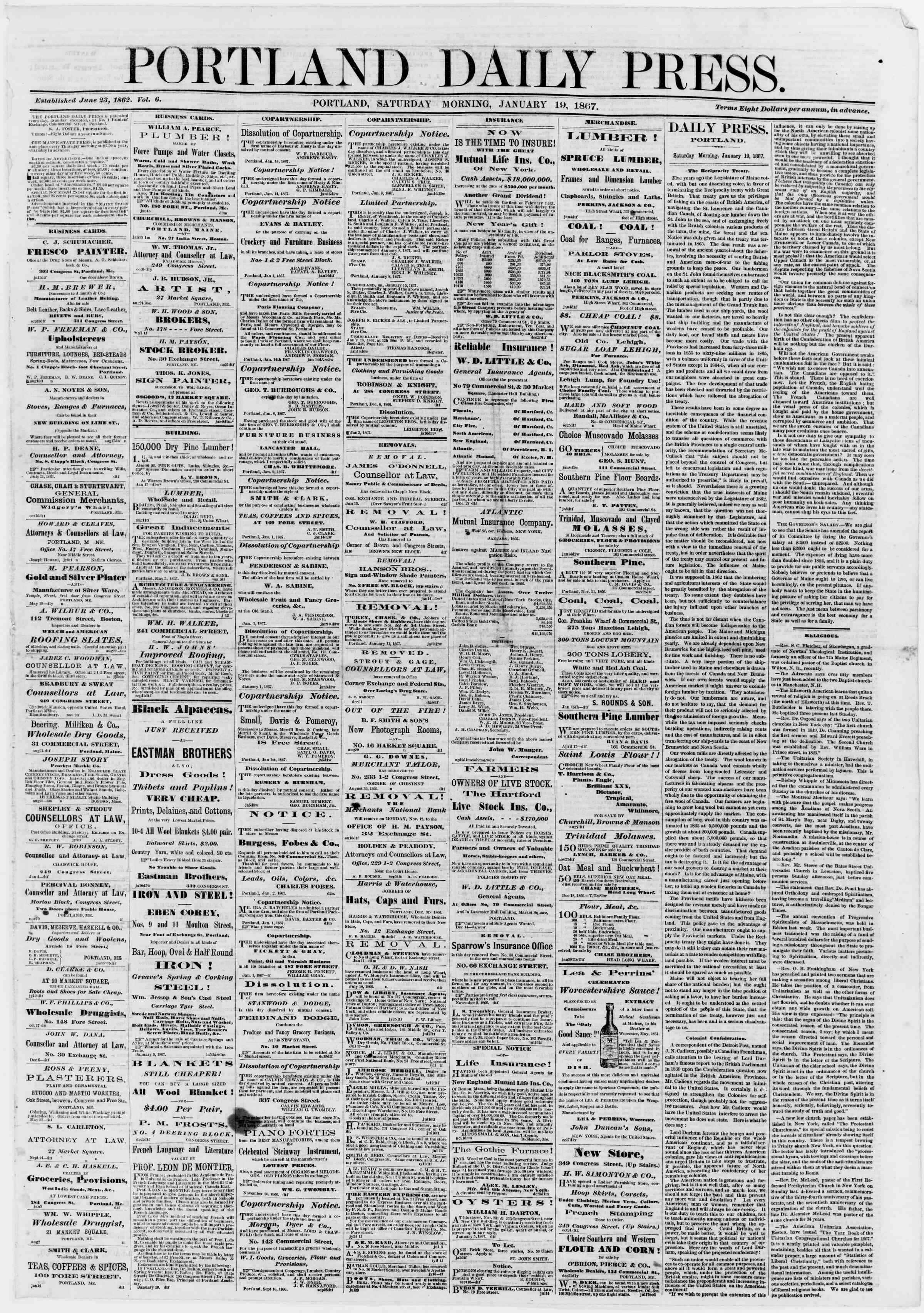 Newspaper of Portland Daily Press dated January 19, 1867 Page 1