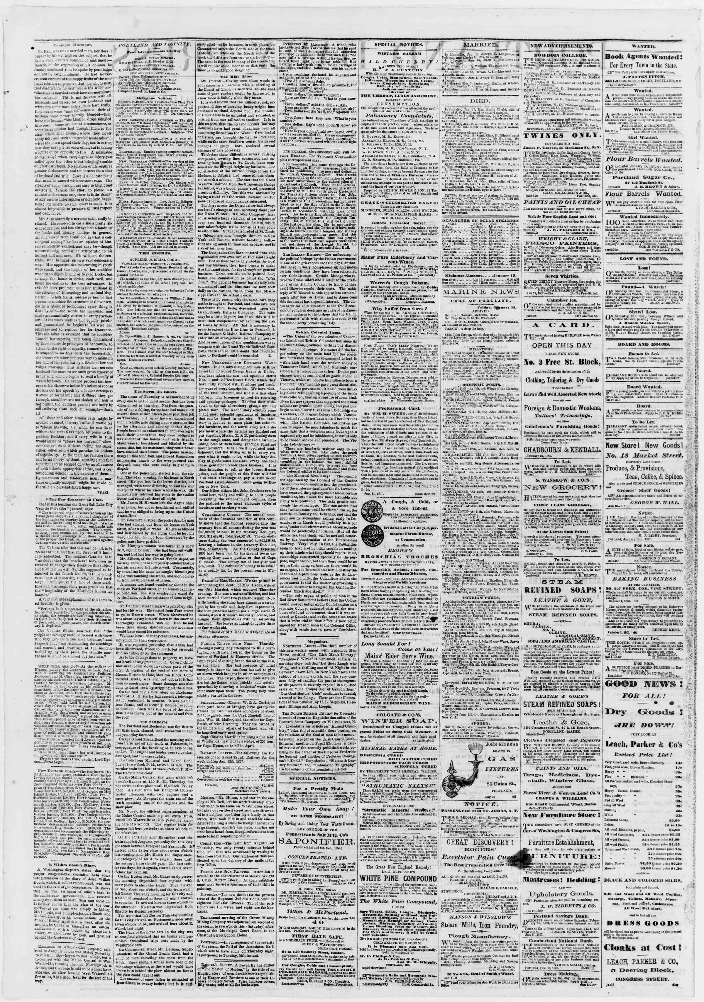 Newspaper of Portland Daily Press dated 19 Ocak 1867 Page 2