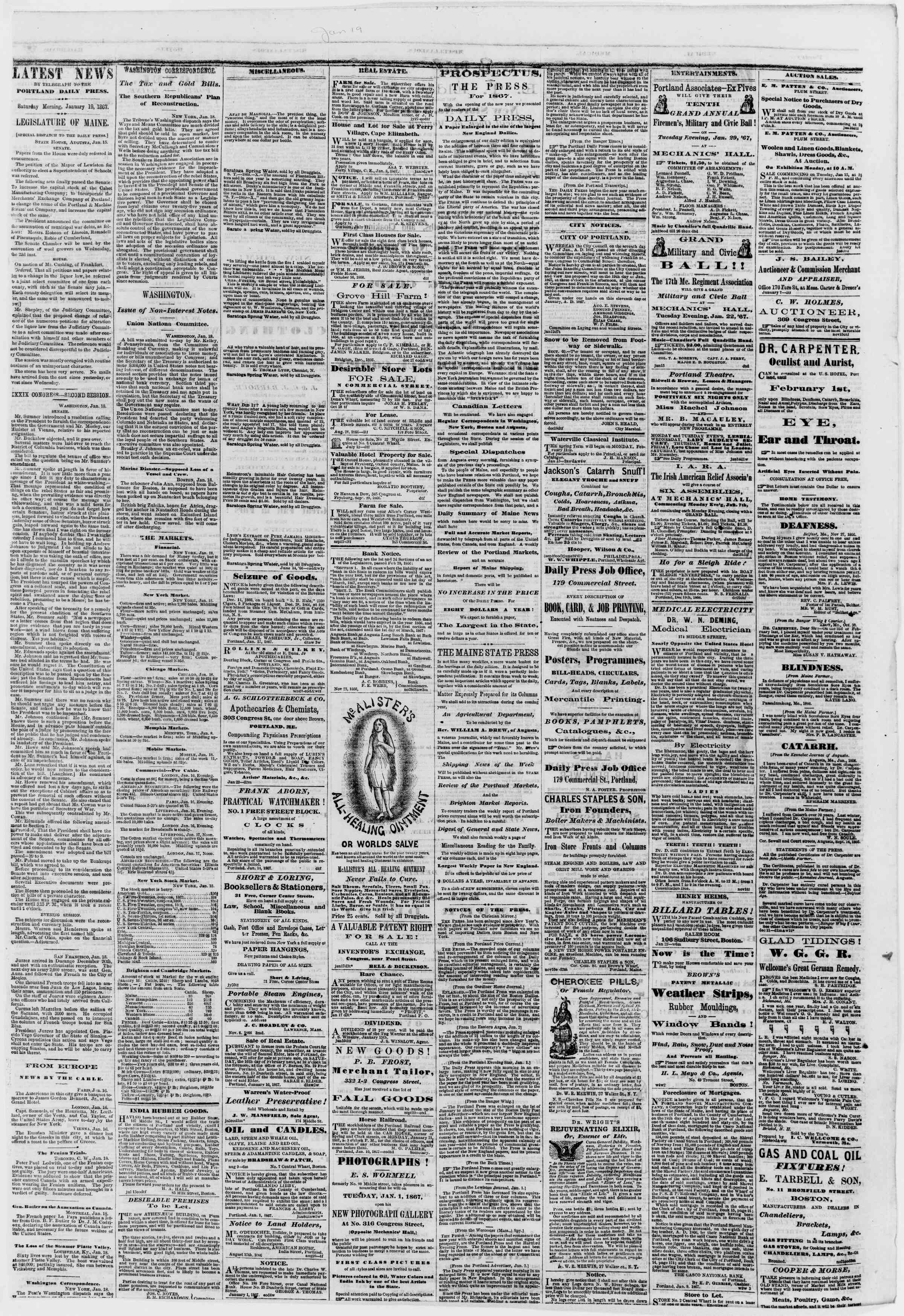 Newspaper of Portland Daily Press dated January 19, 1867 Page 3