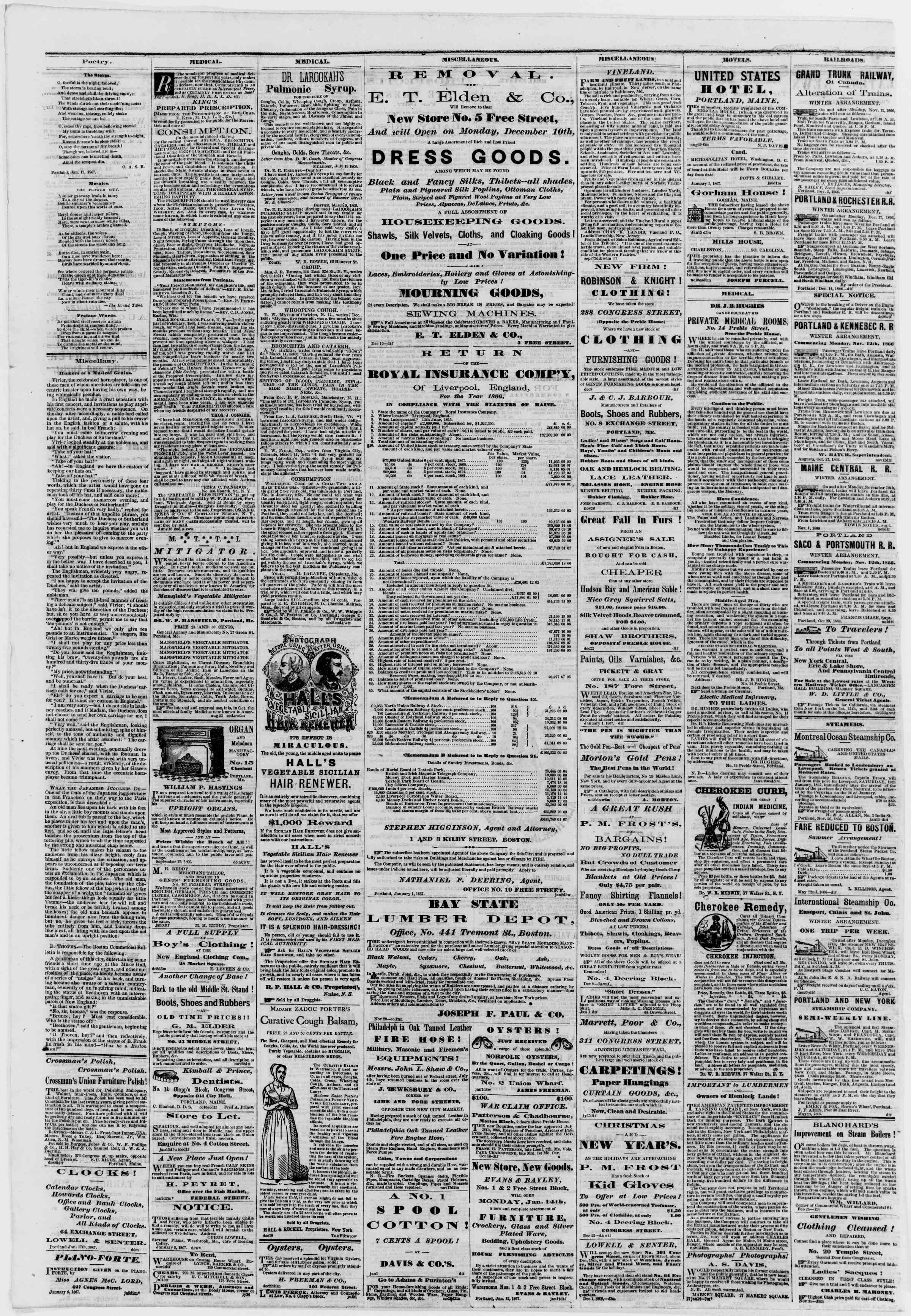 Newspaper of Portland Daily Press dated January 19, 1867 Page 4