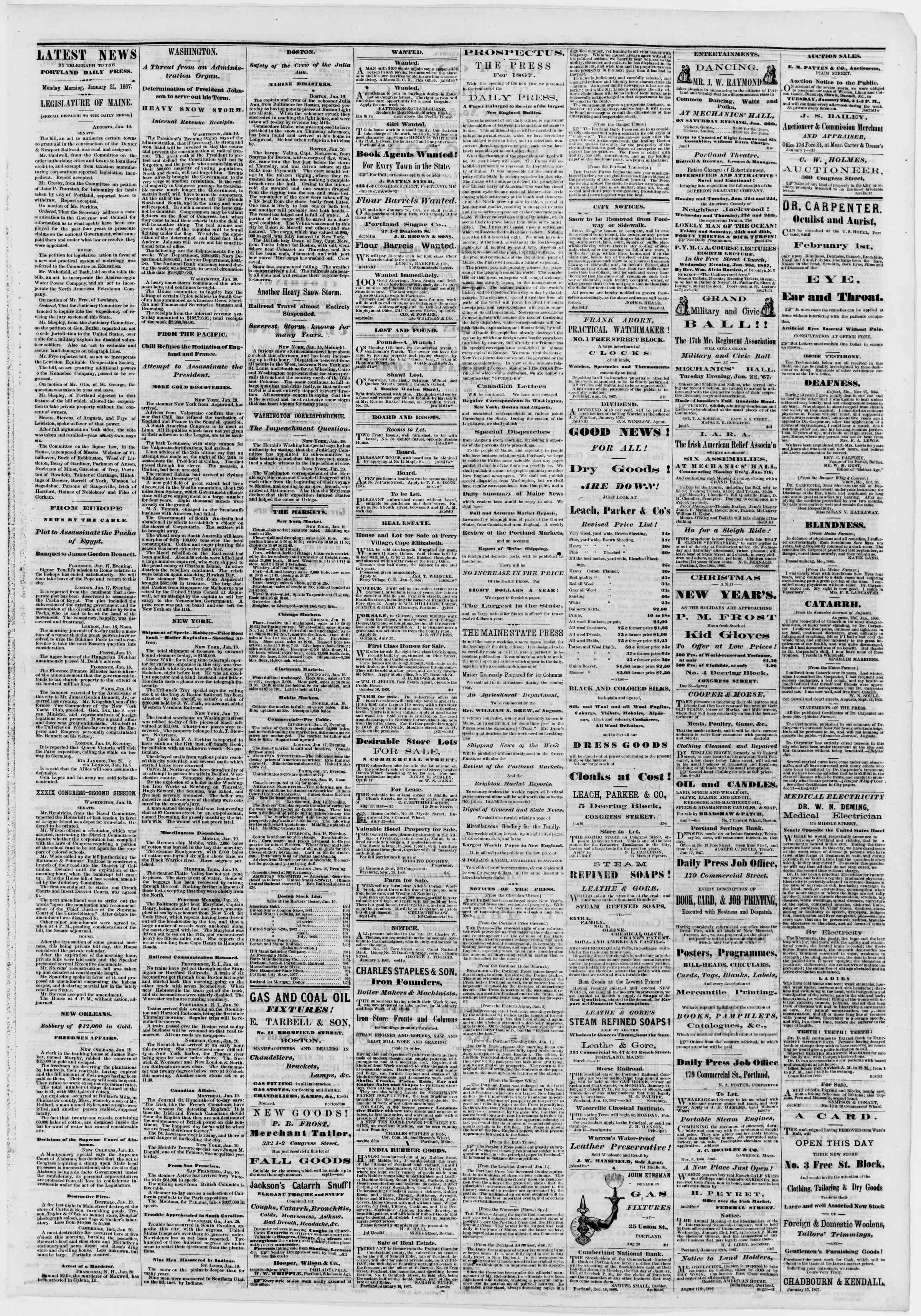 Newspaper of Portland Daily Press dated January 21, 1867 Page 3