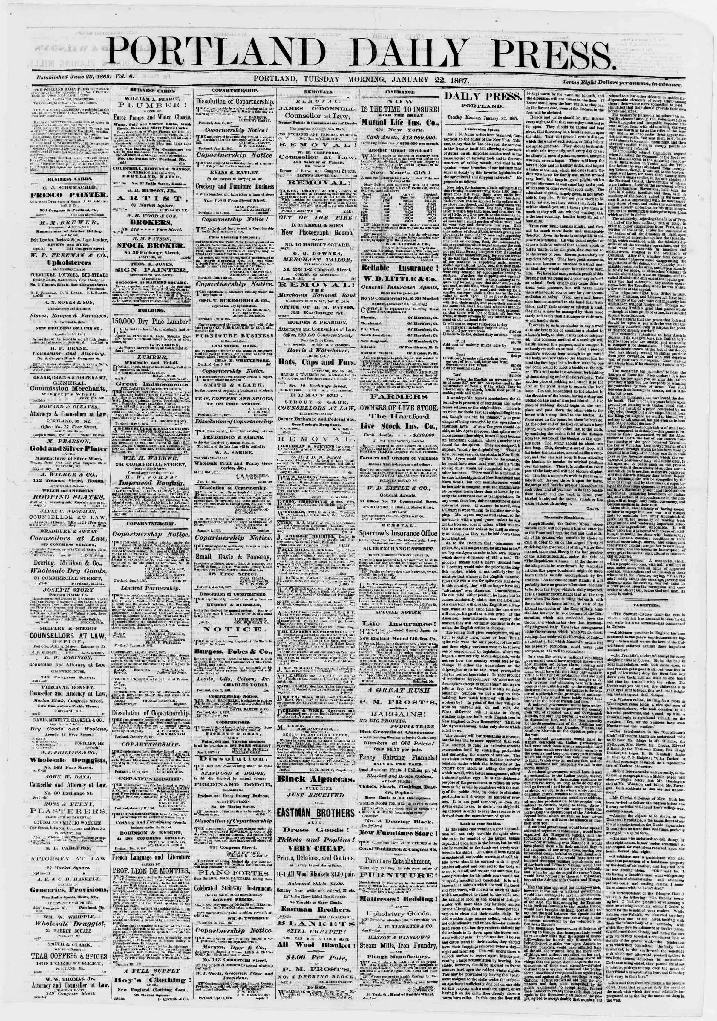 Newspaper of Portland Daily Press dated January 22, 1867 Page 1