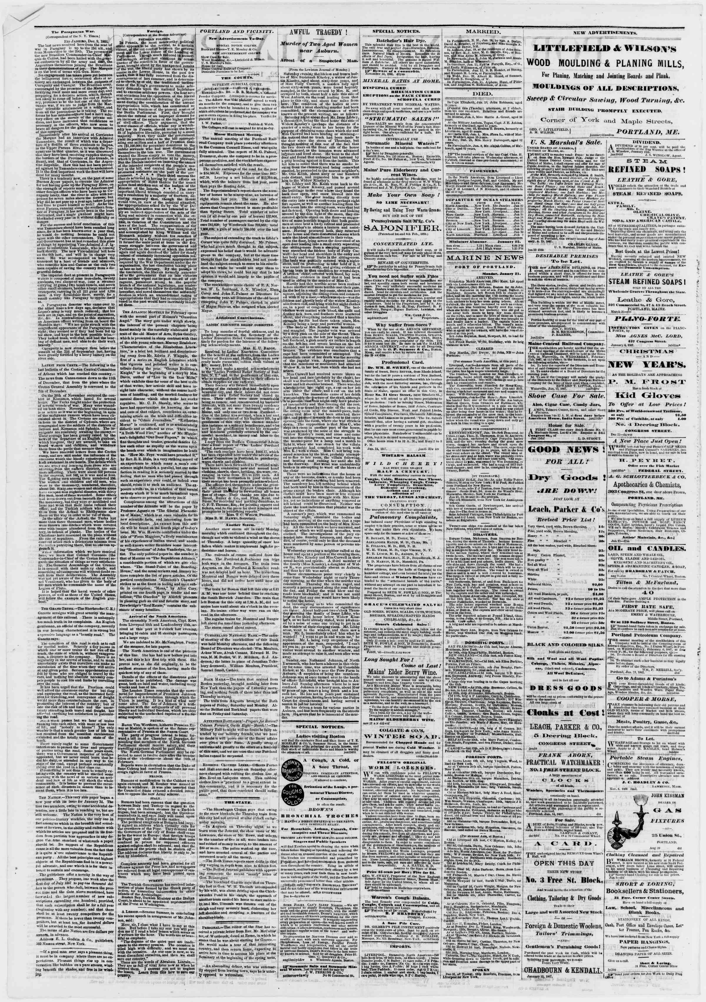 Newspaper of Portland Daily Press dated January 22, 1867 Page 2