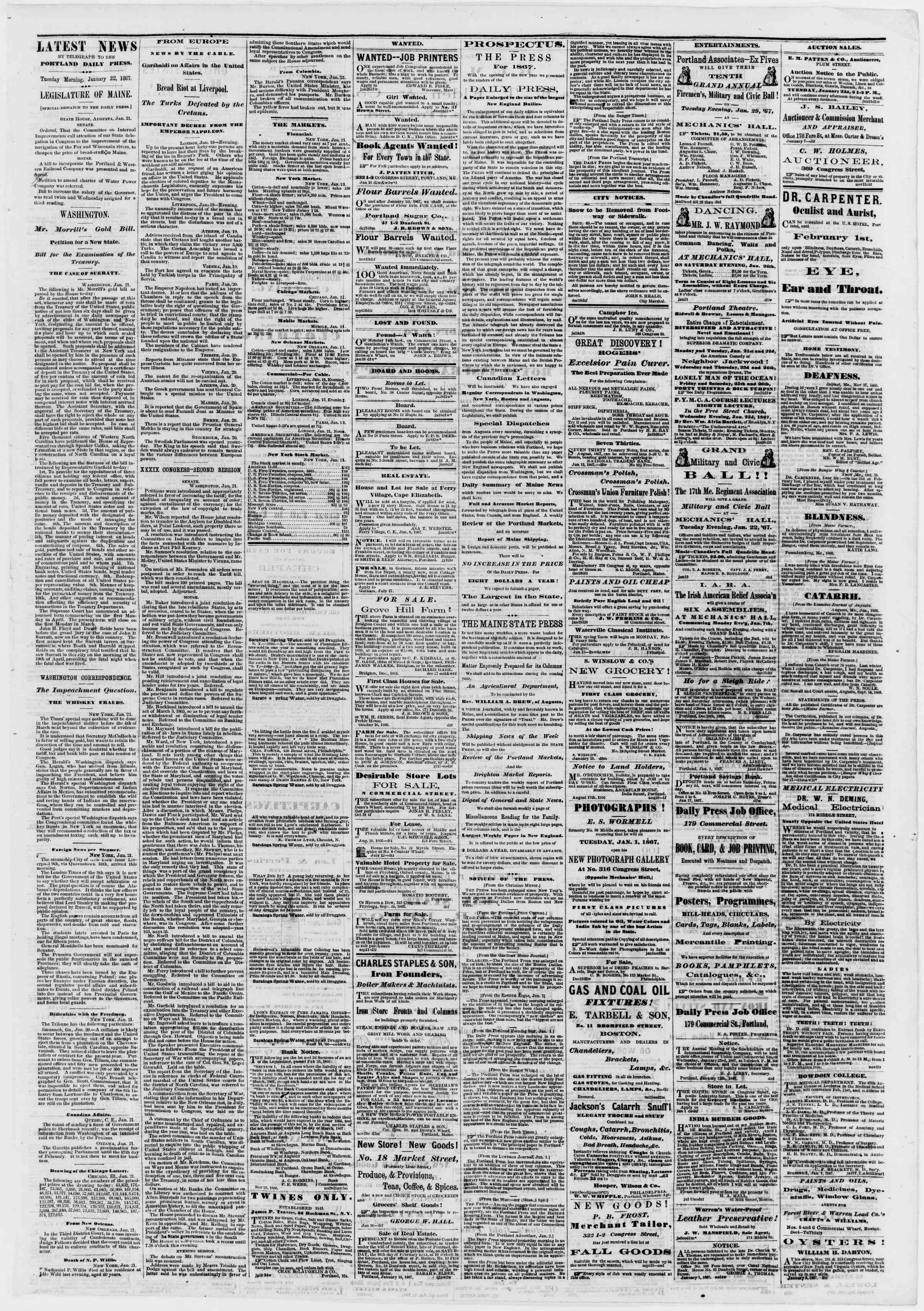 Newspaper of Portland Daily Press dated January 22, 1867 Page 3