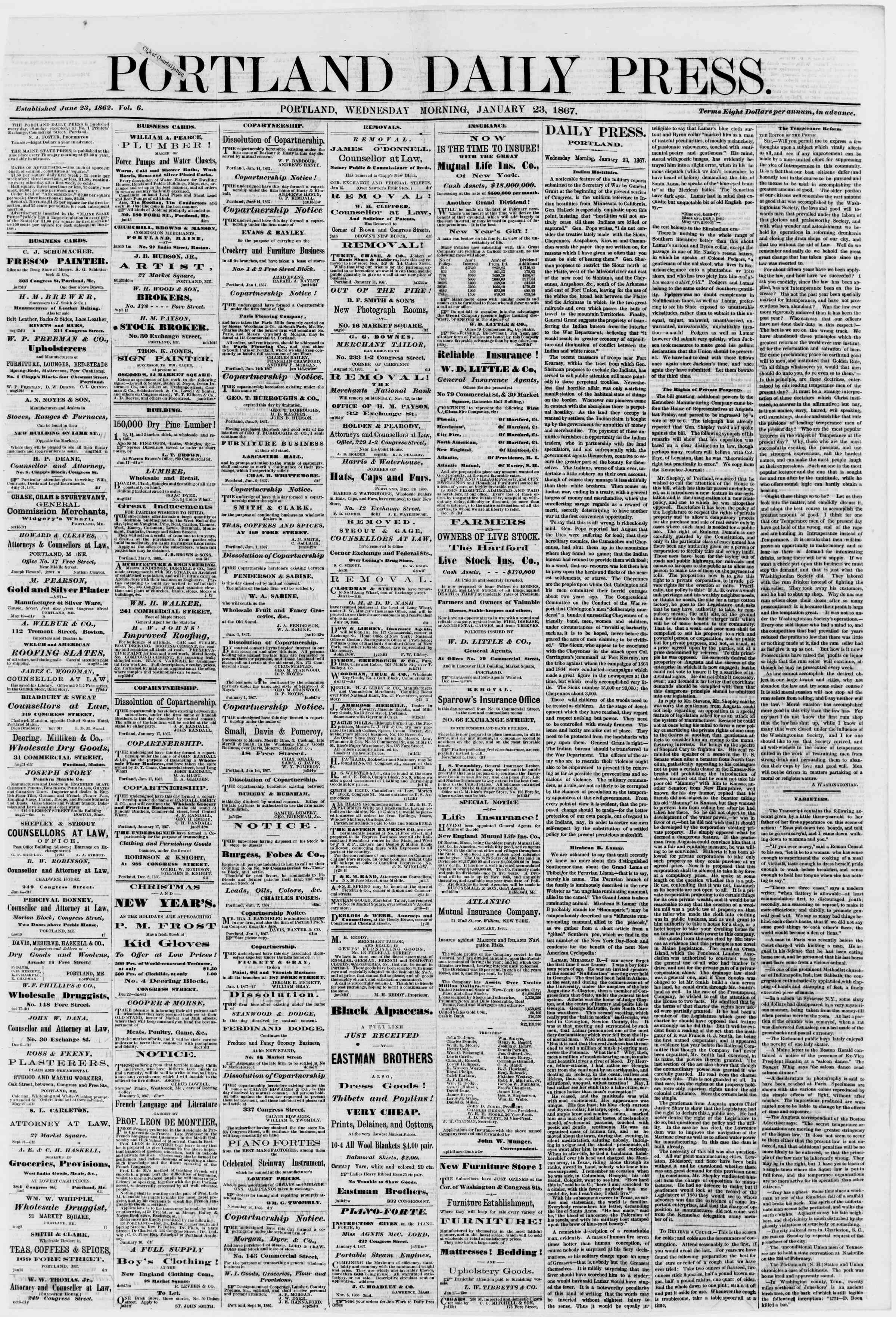 Newspaper of Portland Daily Press dated 23 Ocak 1867 Page 1