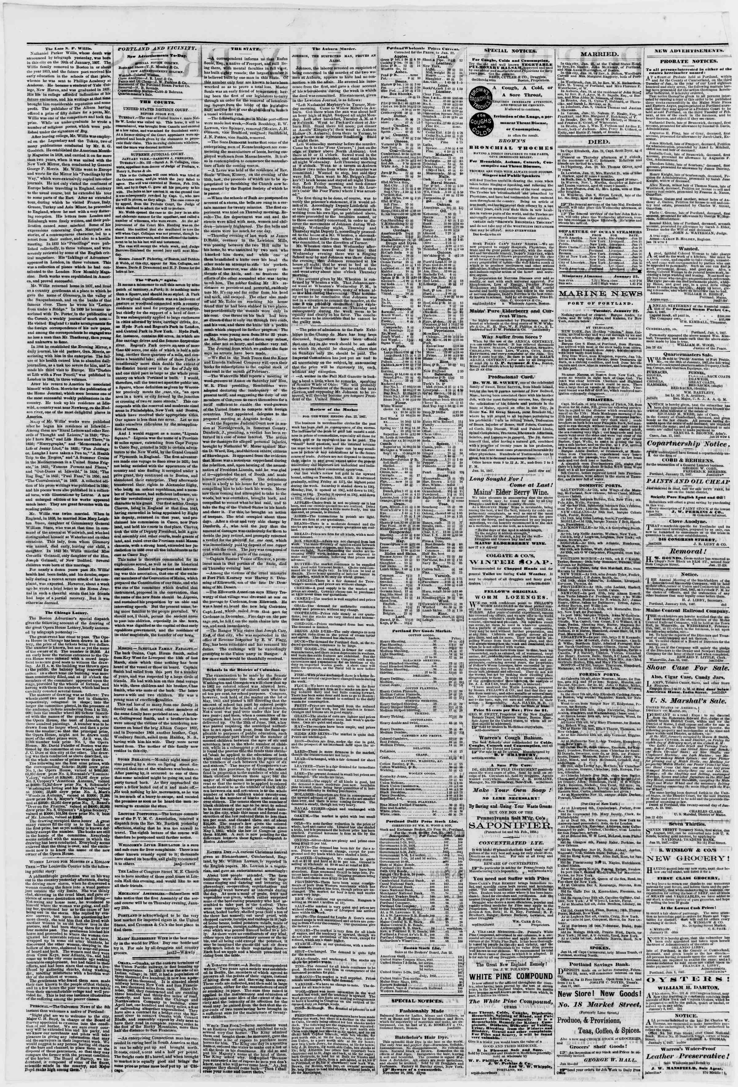Newspaper of Portland Daily Press dated January 23, 1867 Page 2