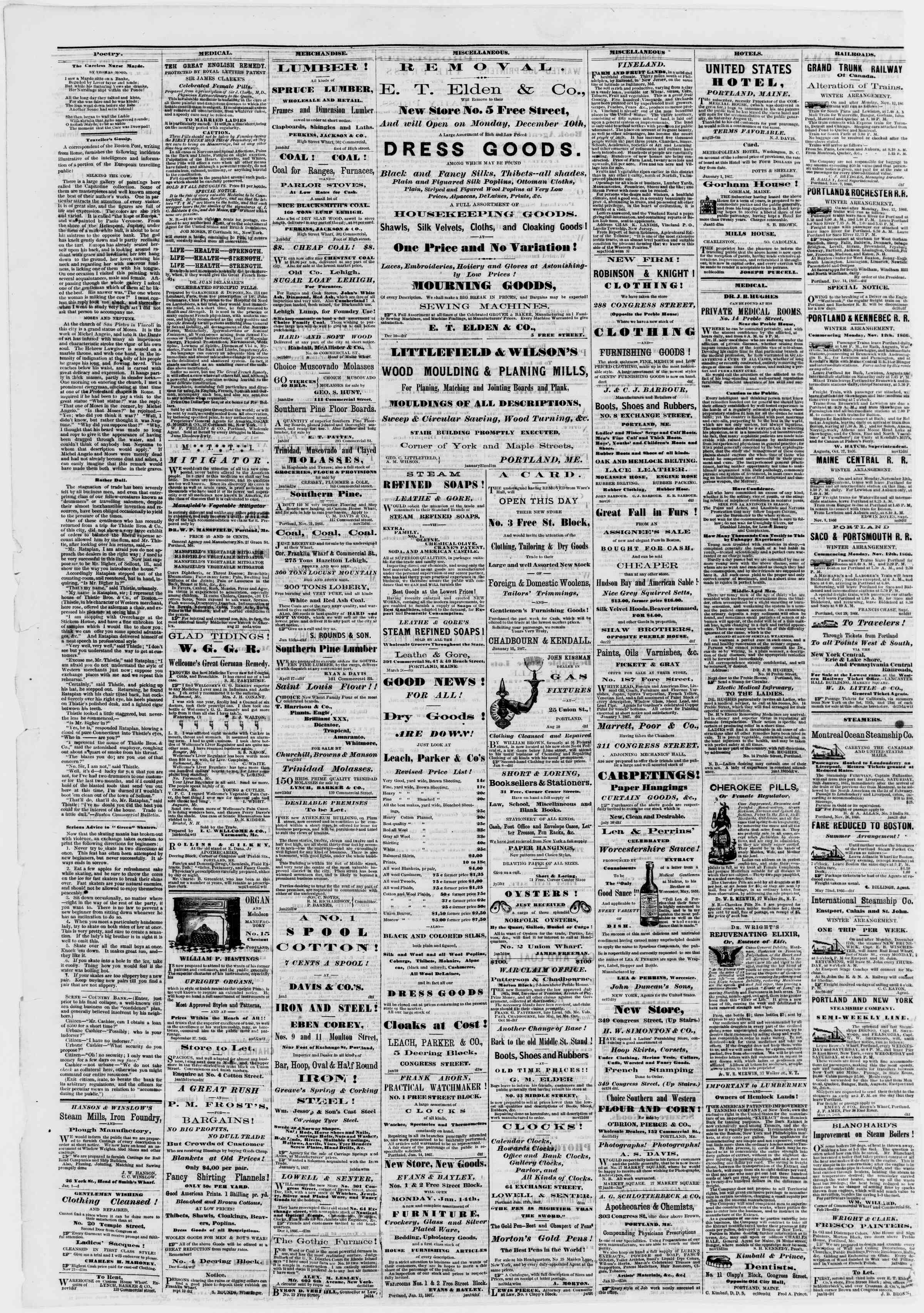 Newspaper of Portland Daily Press dated January 23, 1867 Page 4