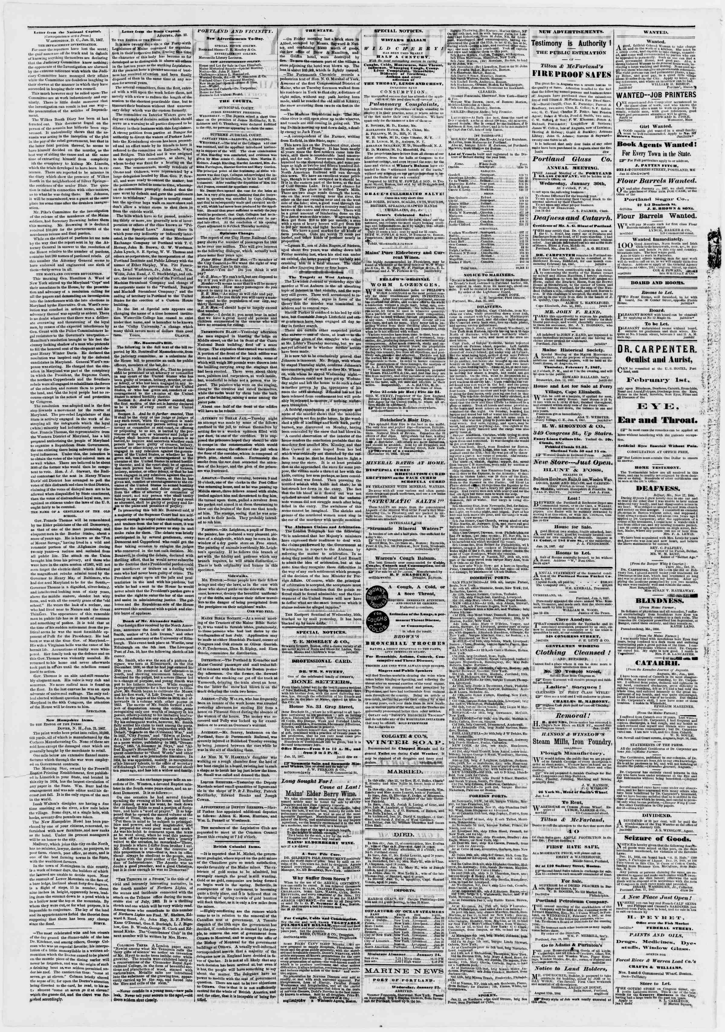 Newspaper of Portland Daily Press dated January 24, 1867 Page 2