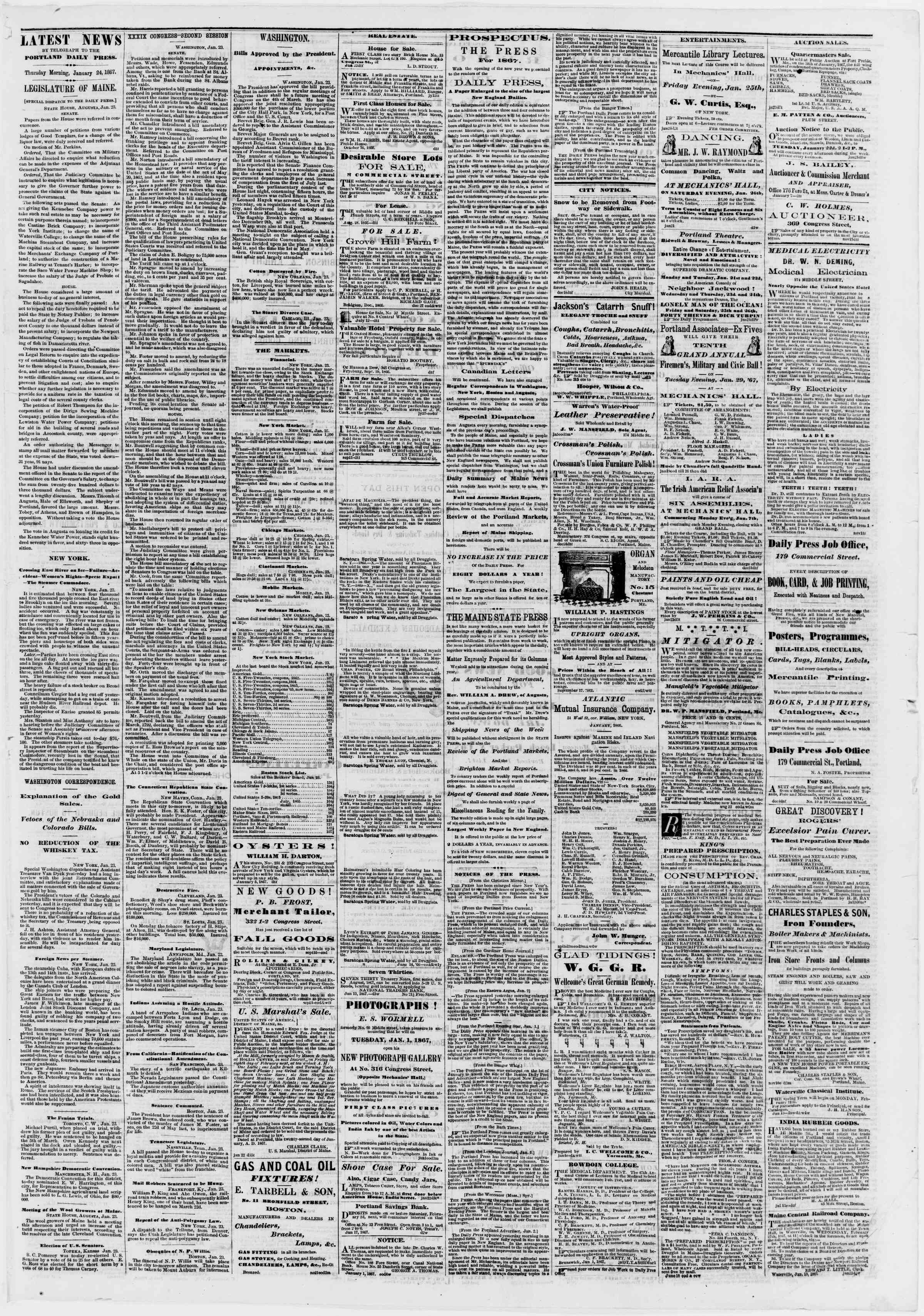 Newspaper of Portland Daily Press dated January 24, 1867 Page 3