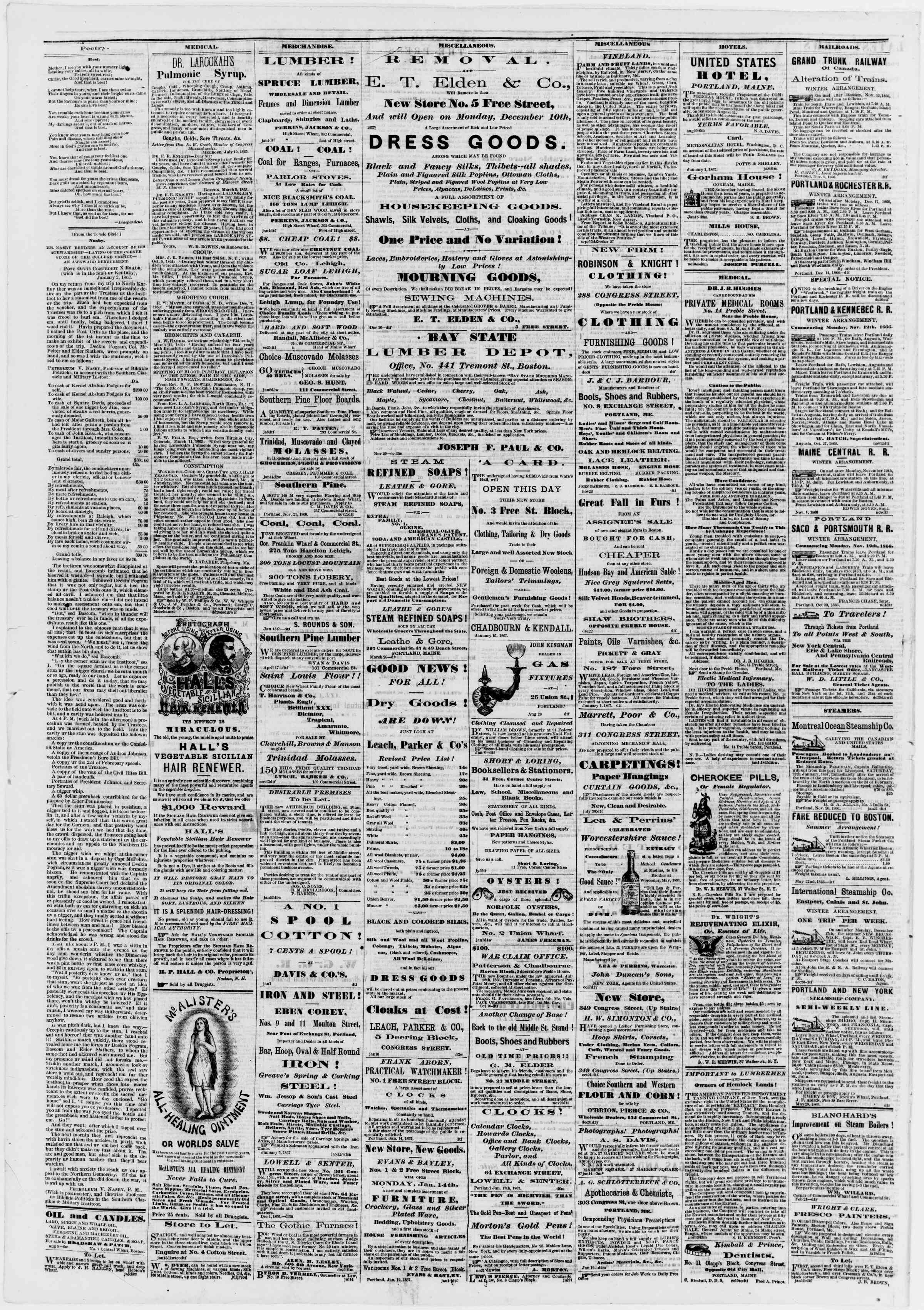 Newspaper of Portland Daily Press dated January 24, 1867 Page 4