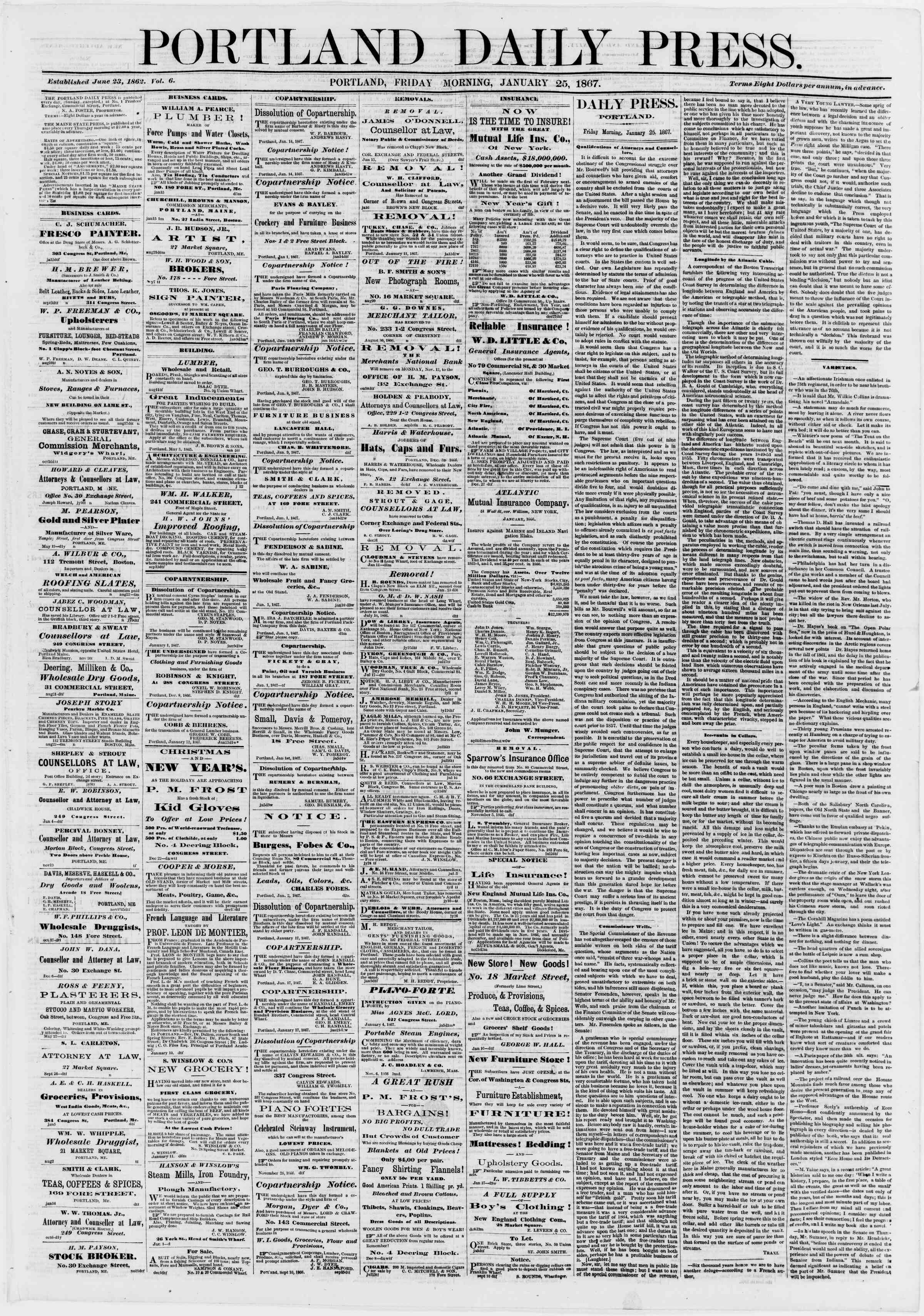 Newspaper of Portland Daily Press dated January 25, 1867 Page 1